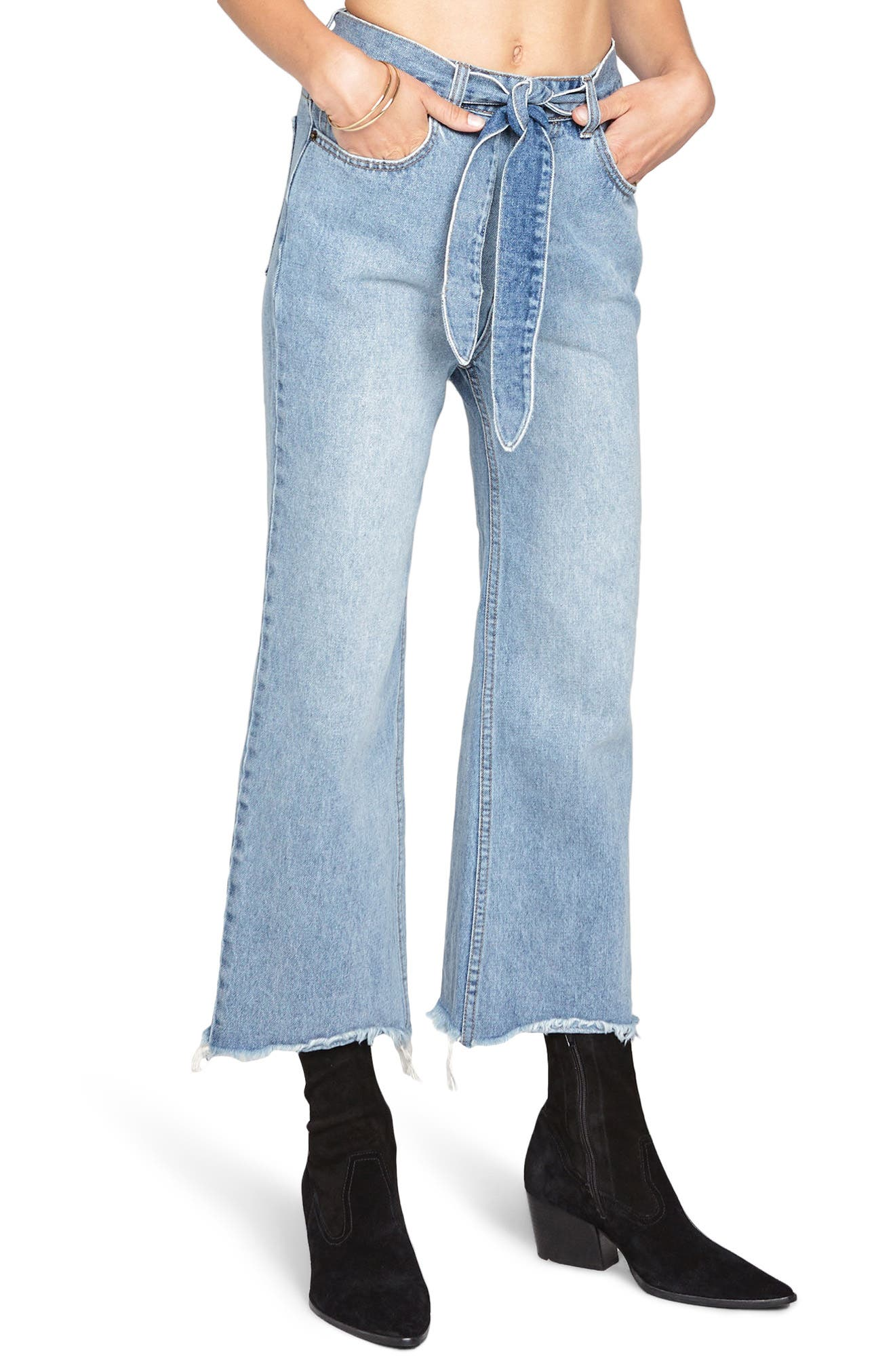 All Tied Up Crop Flare Jeans,                             Main thumbnail 1, color,                             Faded Vintage Wash