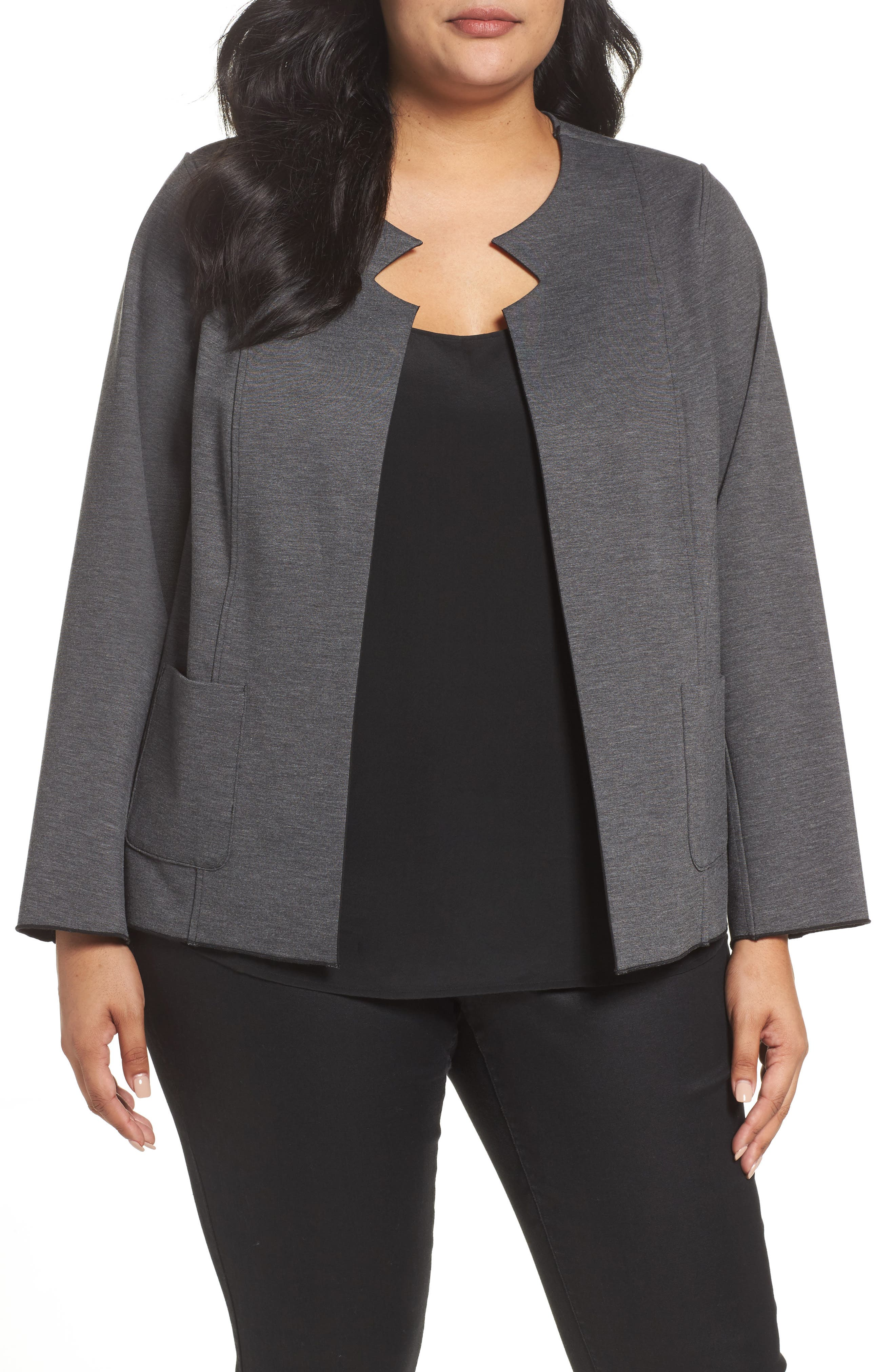 Tilly Reversible Ponte Jacket,                             Alternate thumbnail 6, color,                             Charcoal
