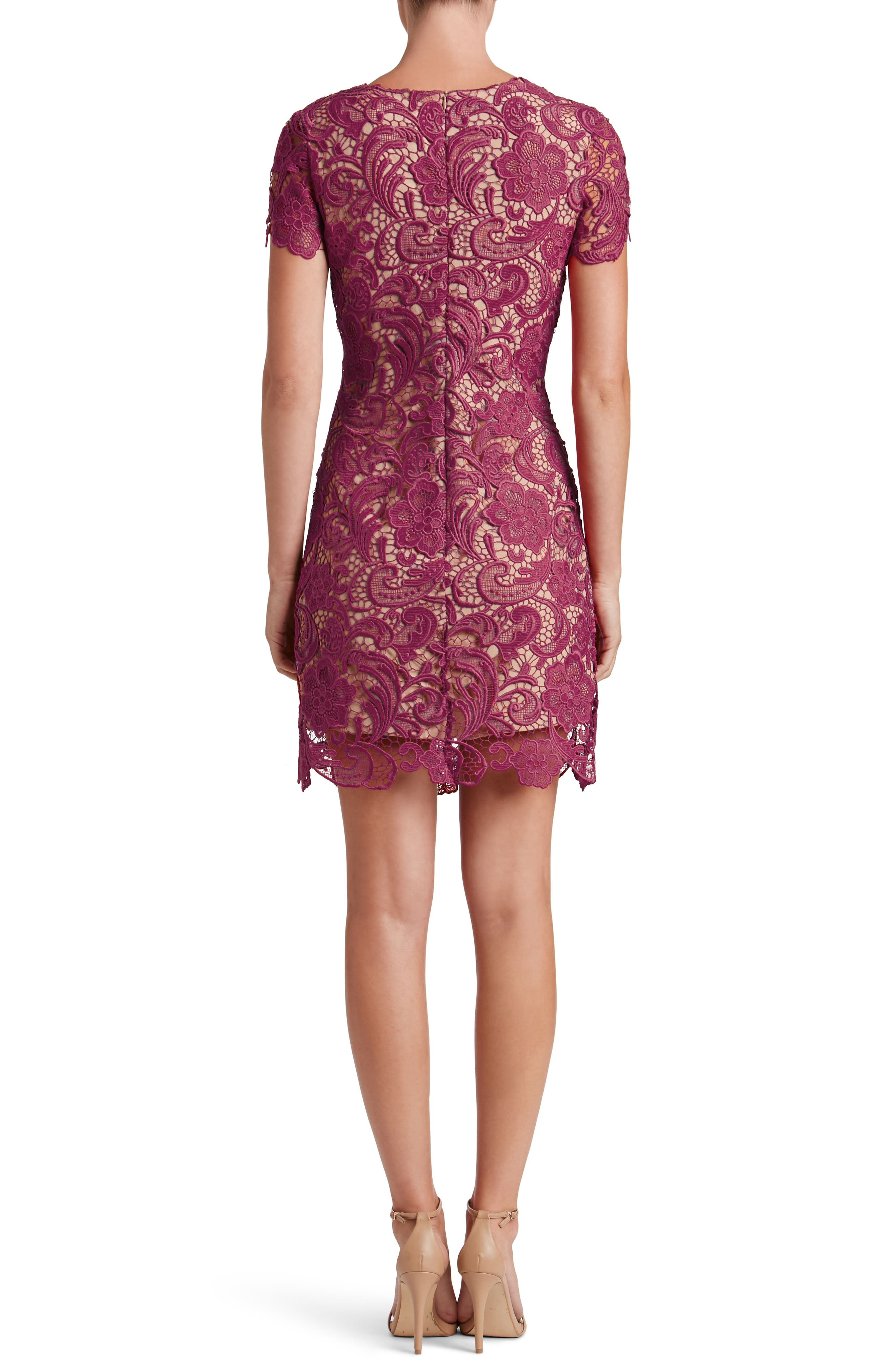 Anna Crochet Lace Sheath Dress,                             Alternate thumbnail 3, color,                             Mulberry/ Nude