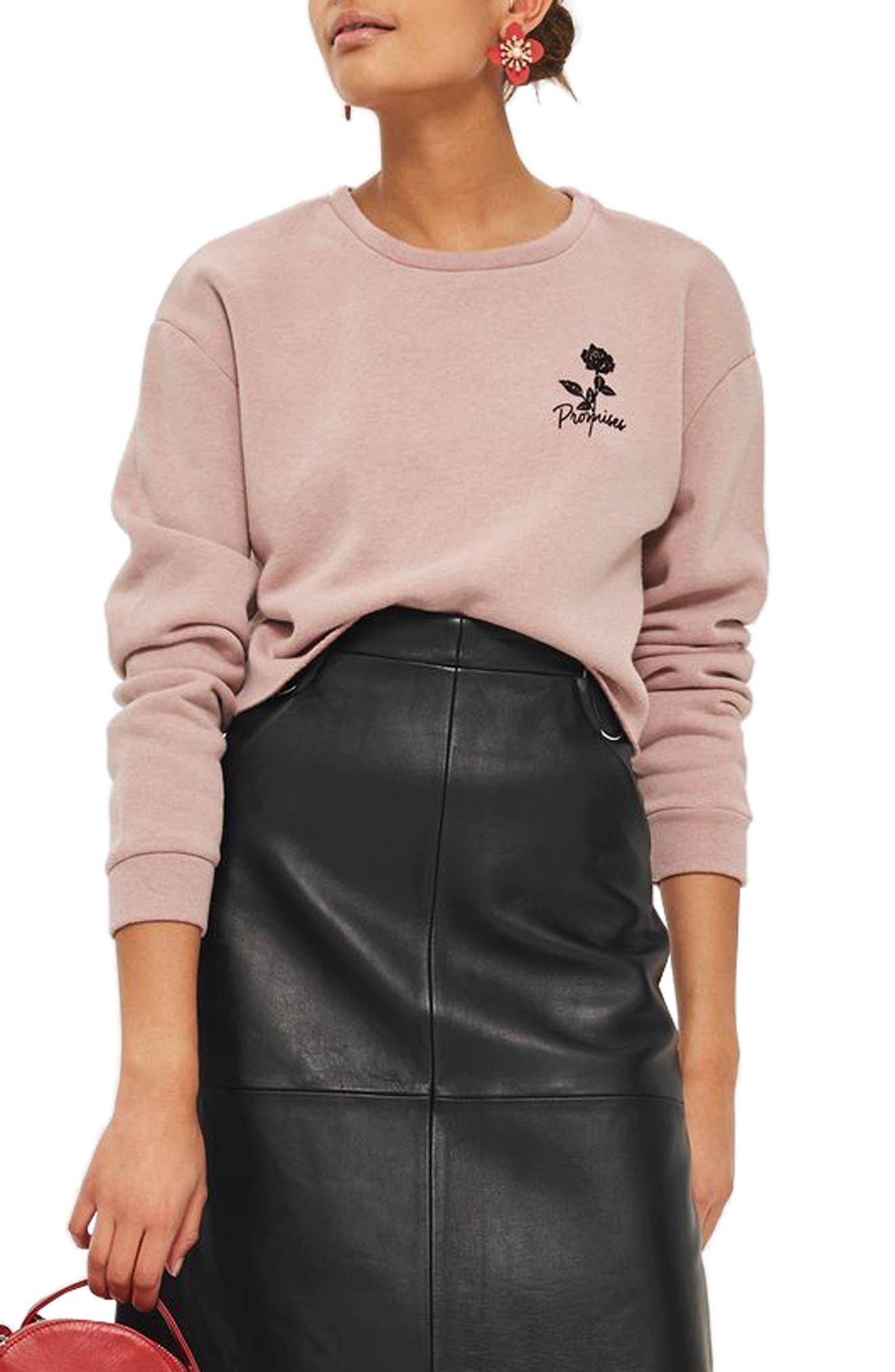 Promises Crop Sweatshirt,                         Main,                         color, Nude