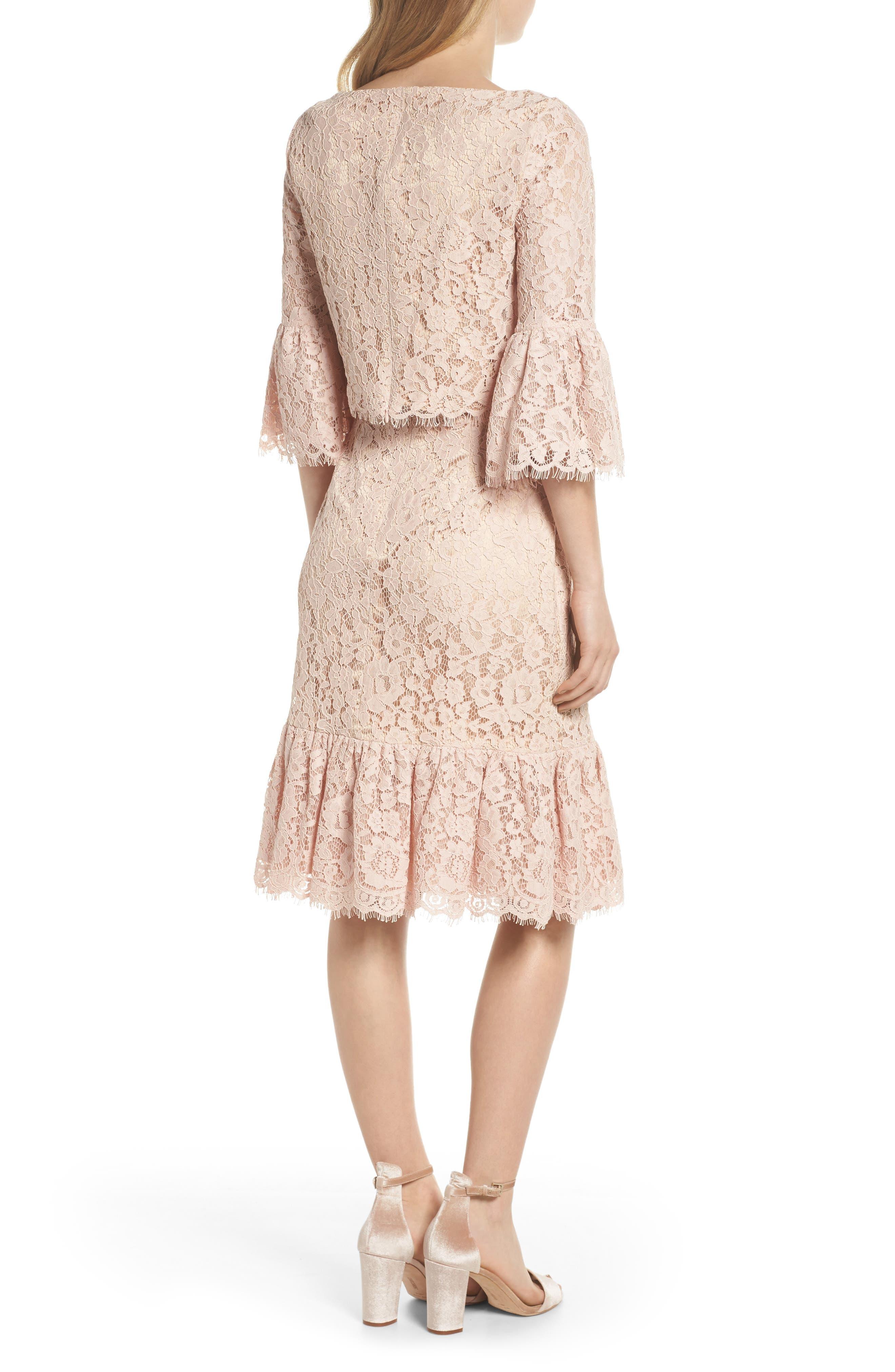 Alternate Image 2  - Eliza J Ruffle Trim Lace Two-Piece Dress