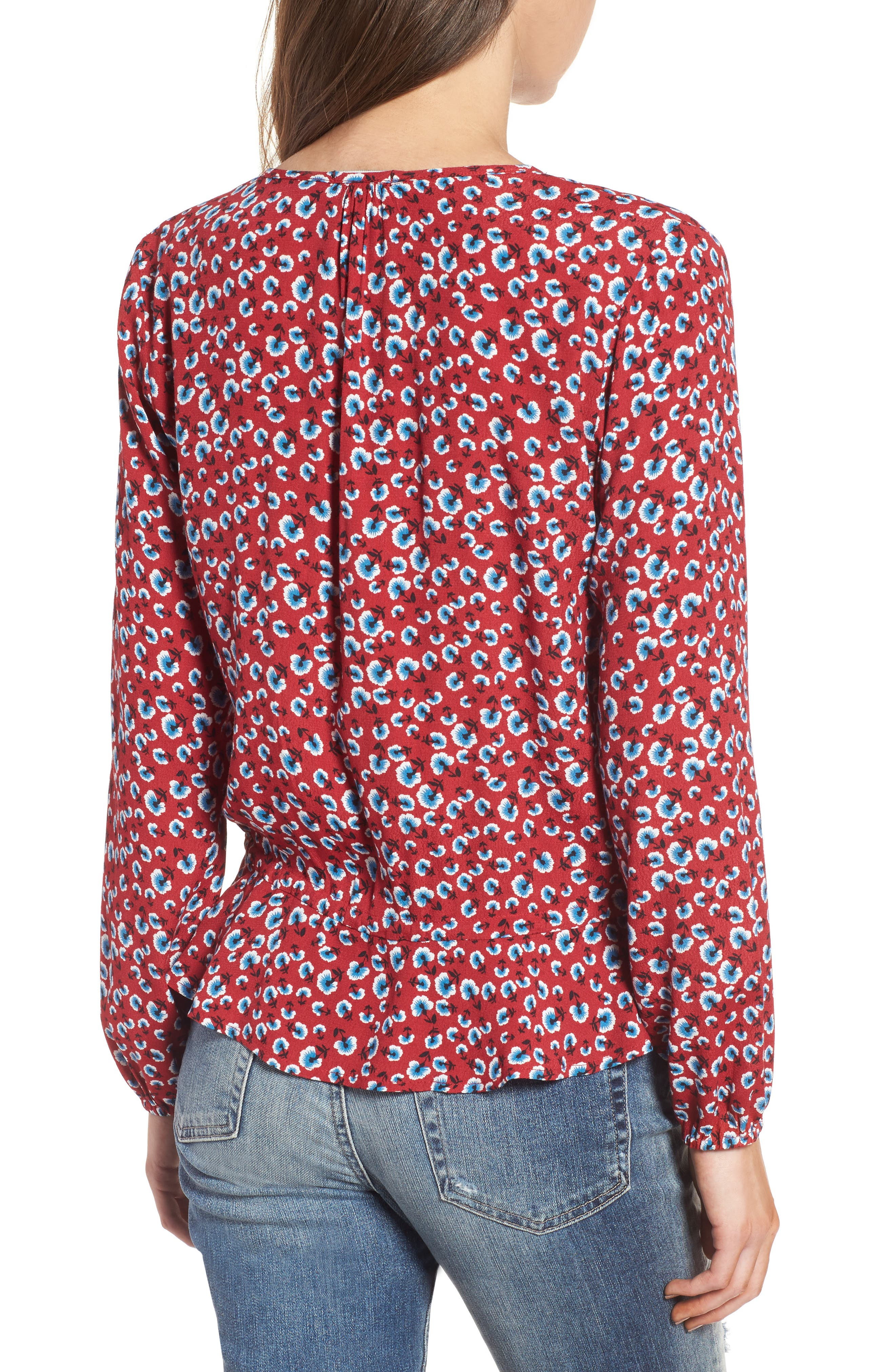 Beaux Print Blouse,                             Alternate thumbnail 2, color,                             Red Floral