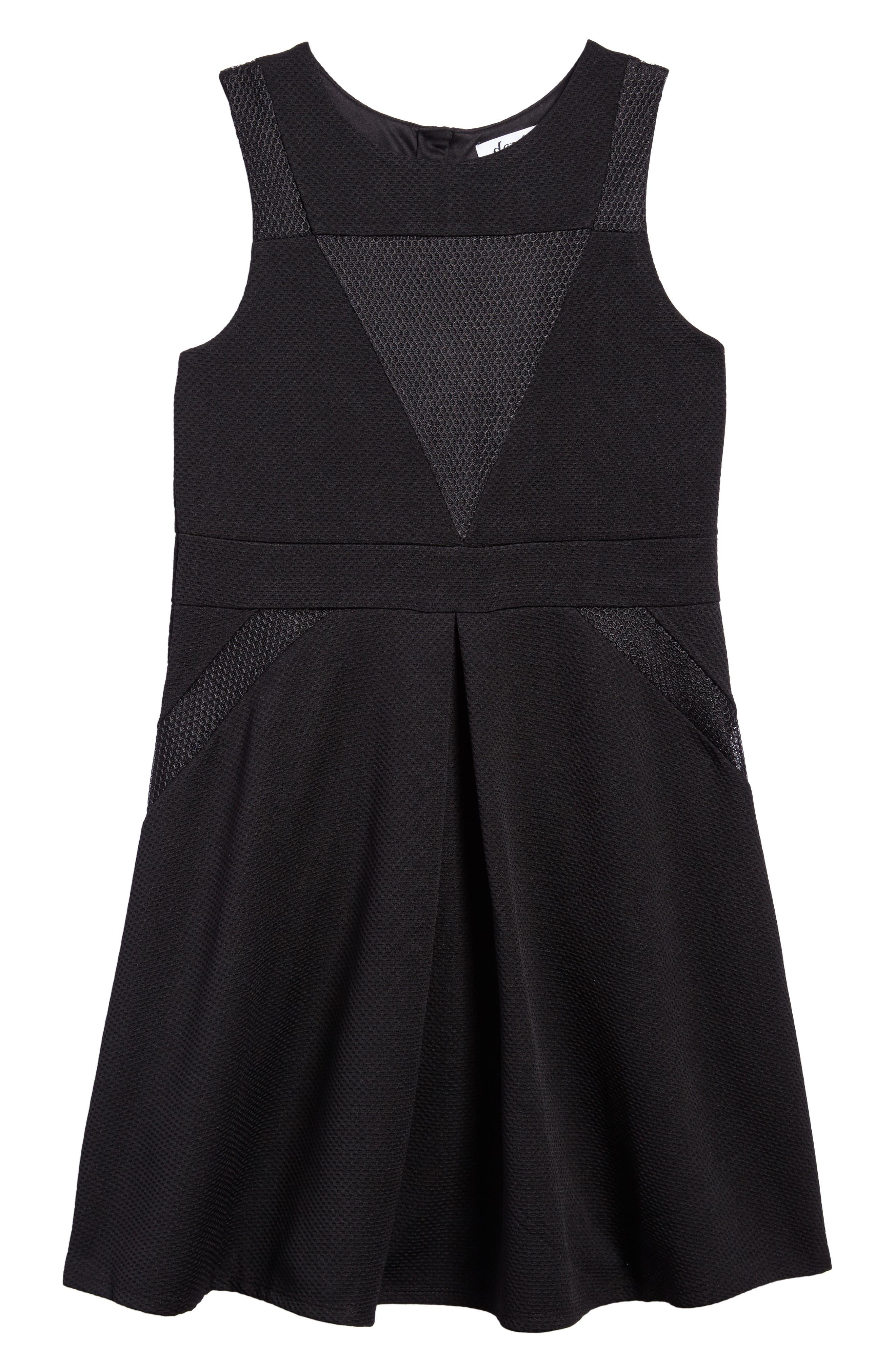 Mesh Skater Dress,                             Main thumbnail 1, color,                             Black