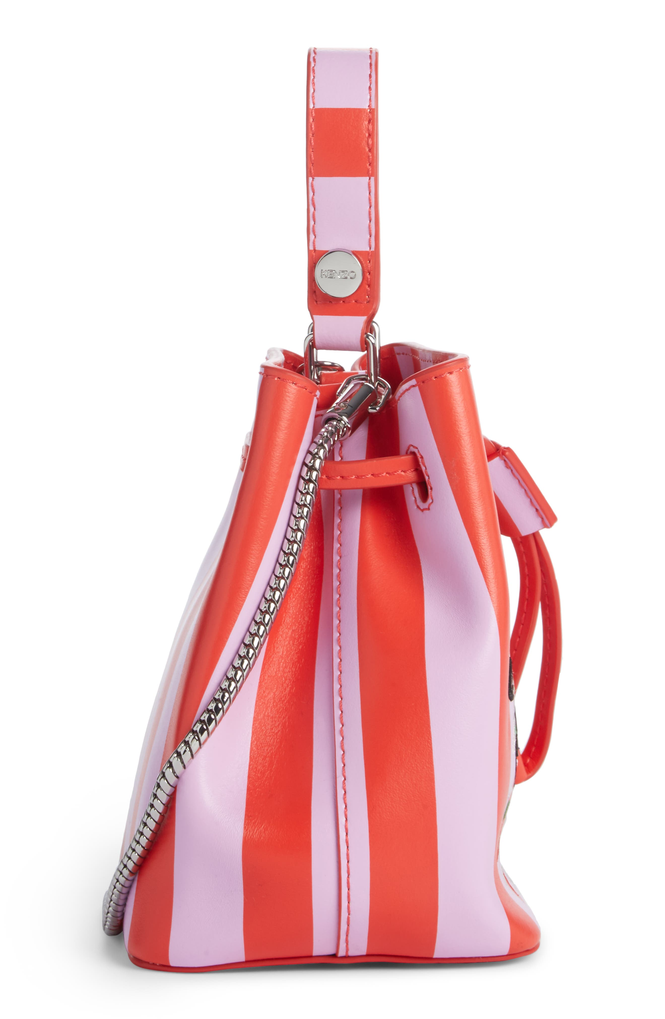 Mini Embroidered Eye Leather Bucket Bag,                             Alternate thumbnail 2, color,                             Medium Red