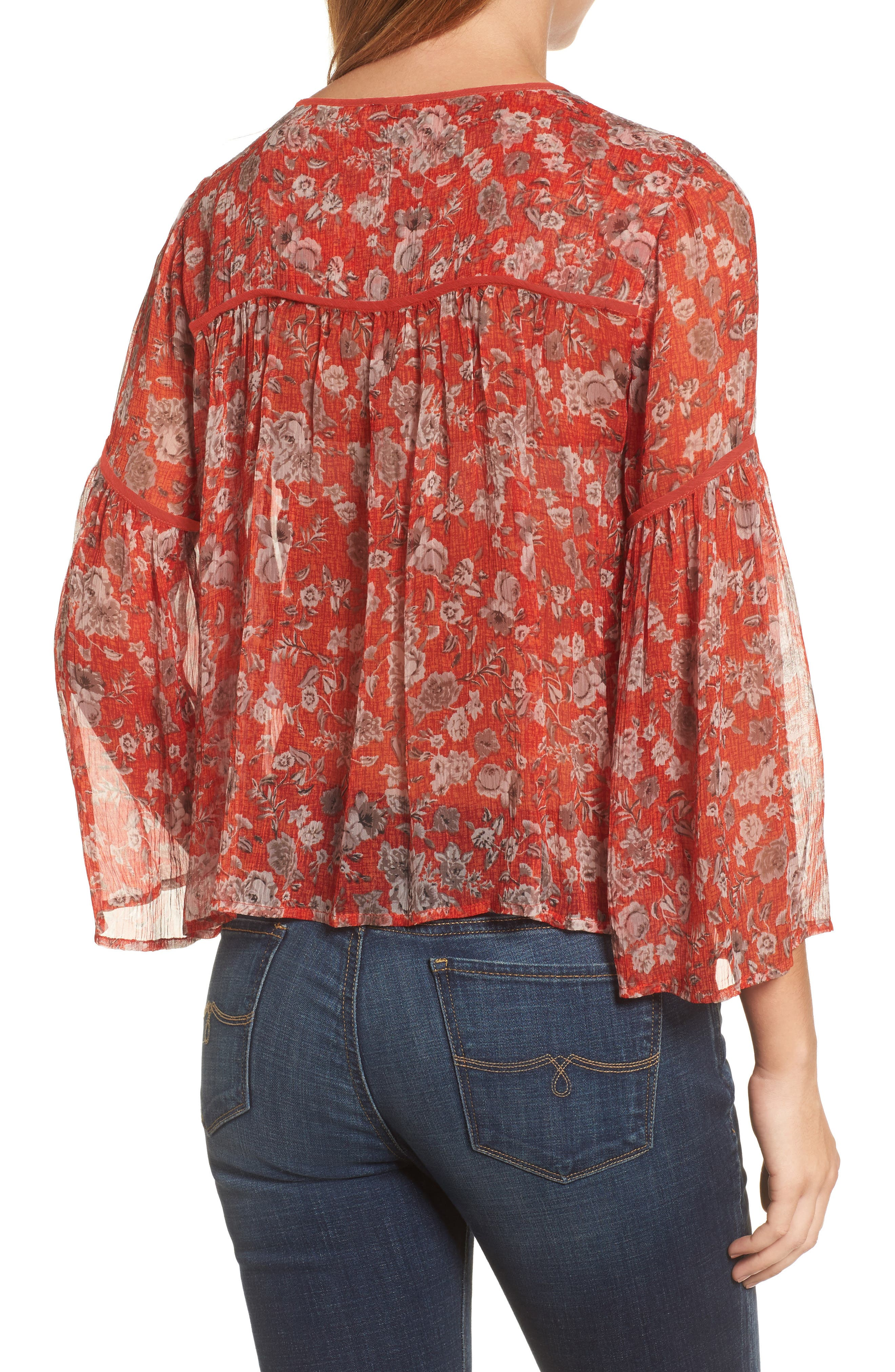 Floral Print Bell Sleeve Top,                             Alternate thumbnail 2, color,                             Red Multi