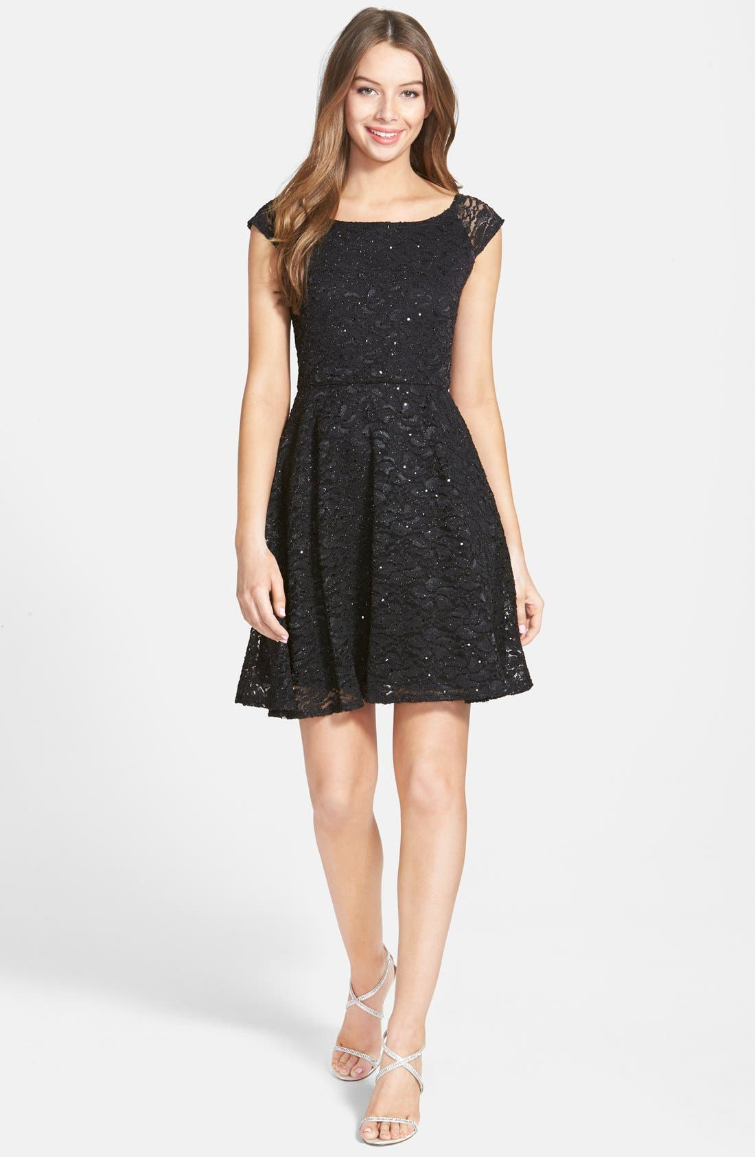 Main Image - Jump Apparel Glitter Lace Cap Sleeve Skater Dress
