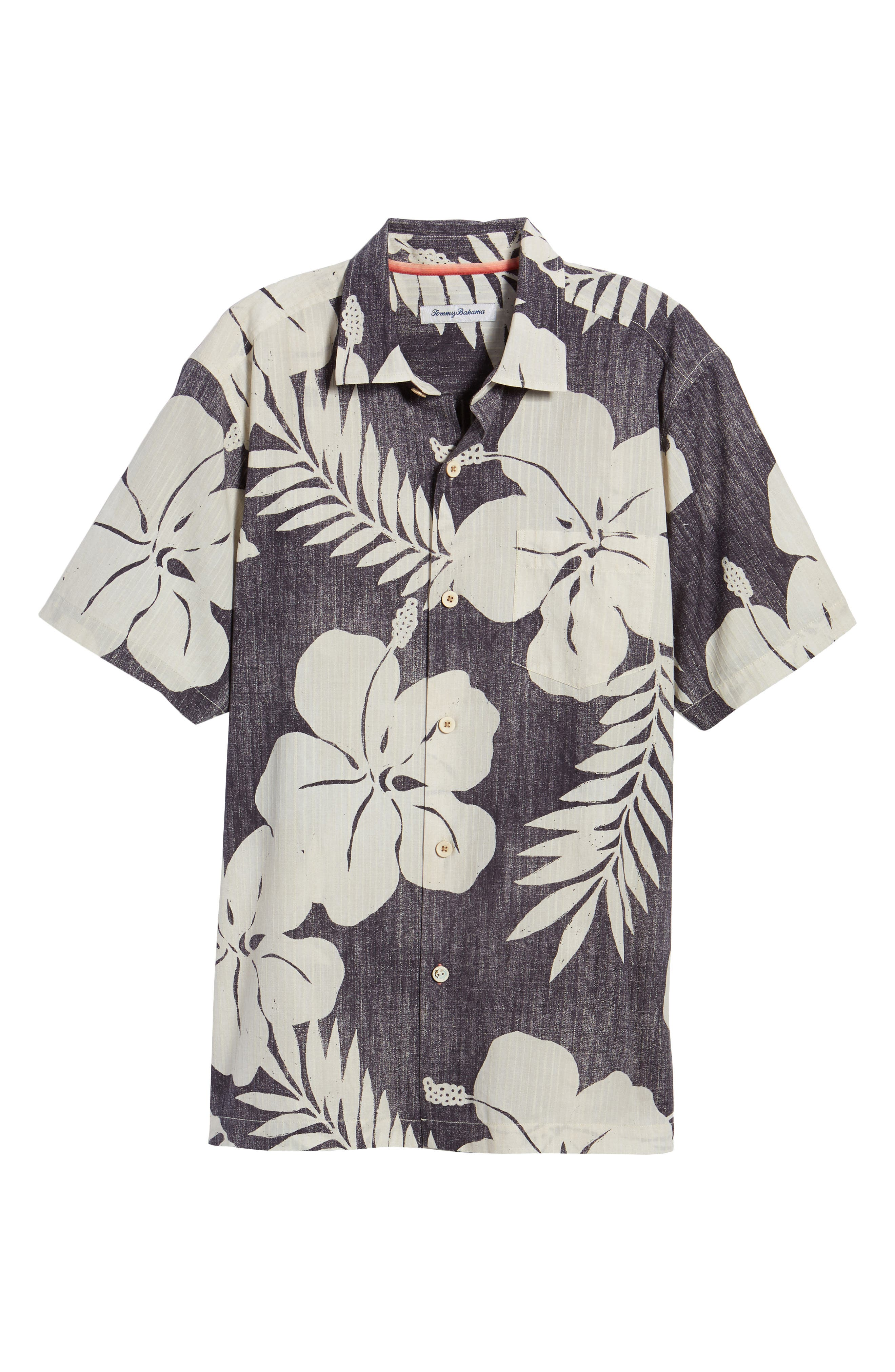 Hialeah Hibiscus Camp Shirt,                             Alternate thumbnail 6, color,                             Steel Wool