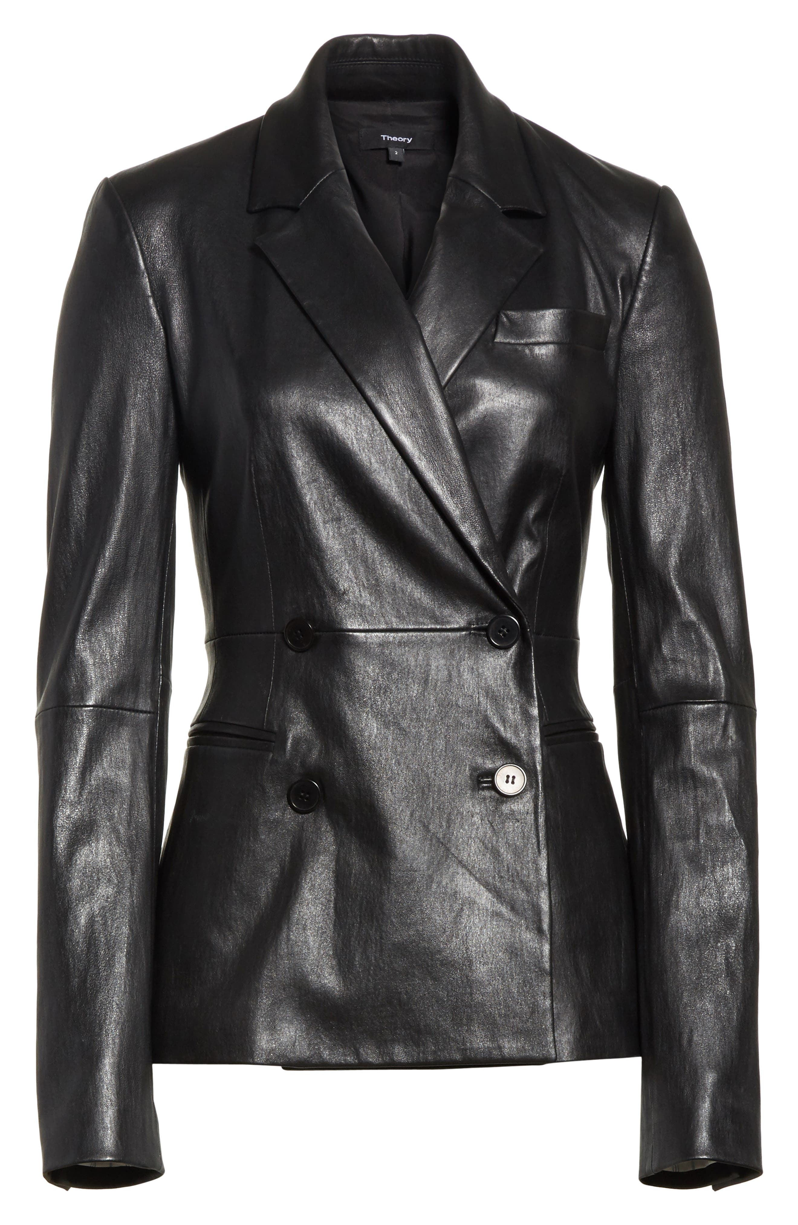 Bristol Leather Blazer,                             Alternate thumbnail 6, color,                             Black