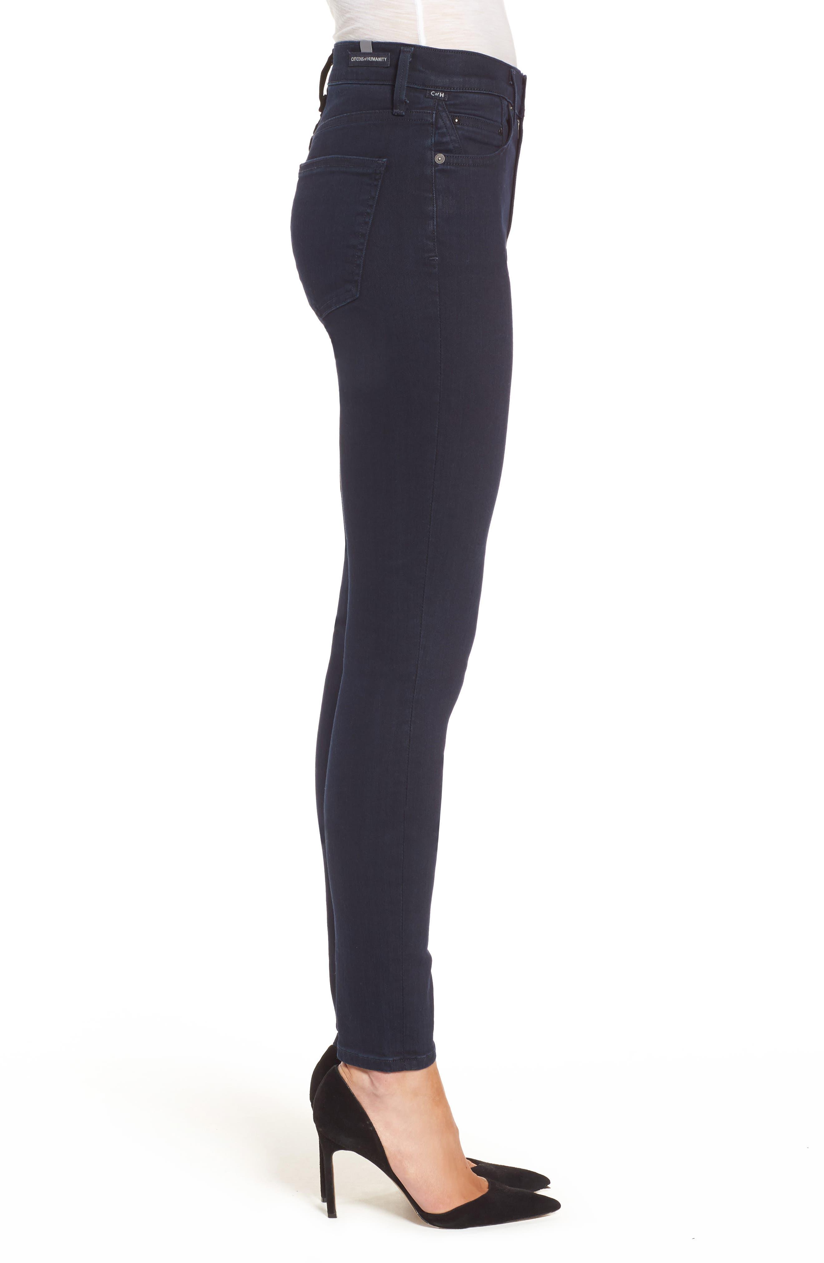 Rocket High Waist Skinny Jeans,                             Alternate thumbnail 3, color,                             Ozone Ink