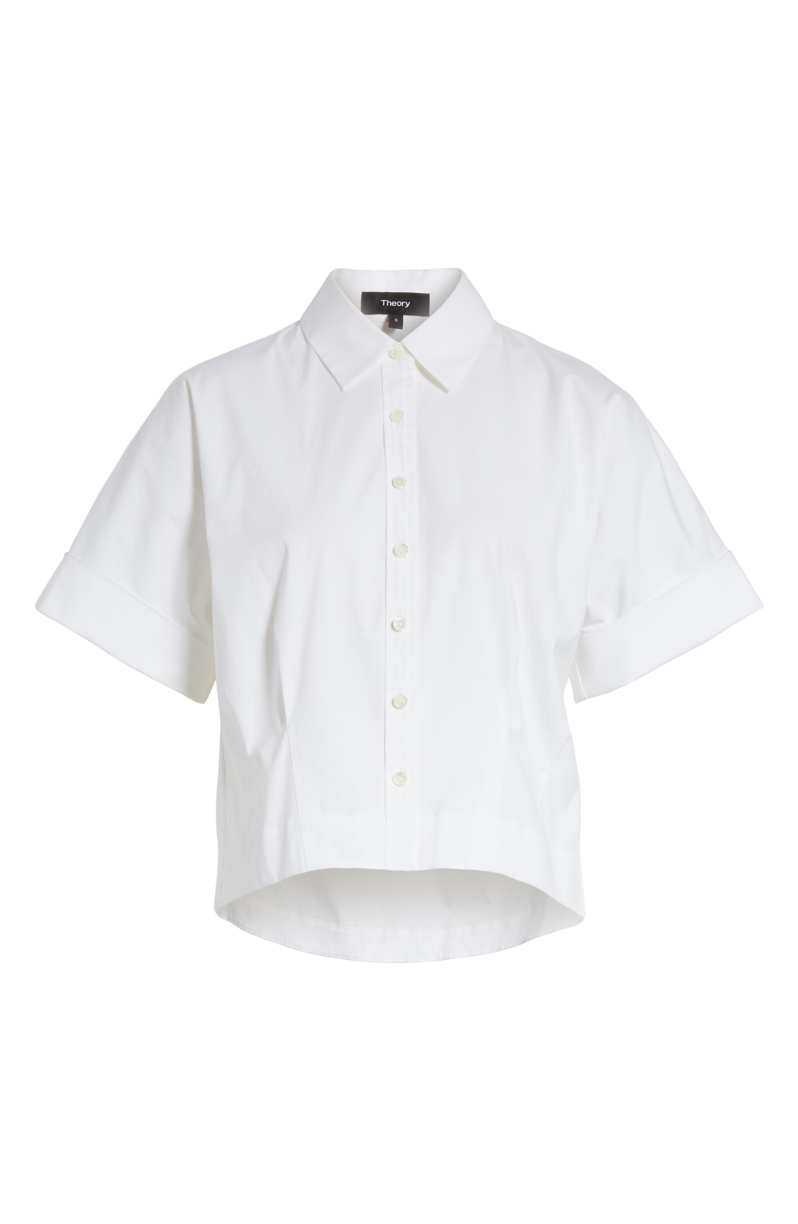 Stretch Cotton Crop Button Down Shirt,                             Alternate thumbnail 6, color,                             White