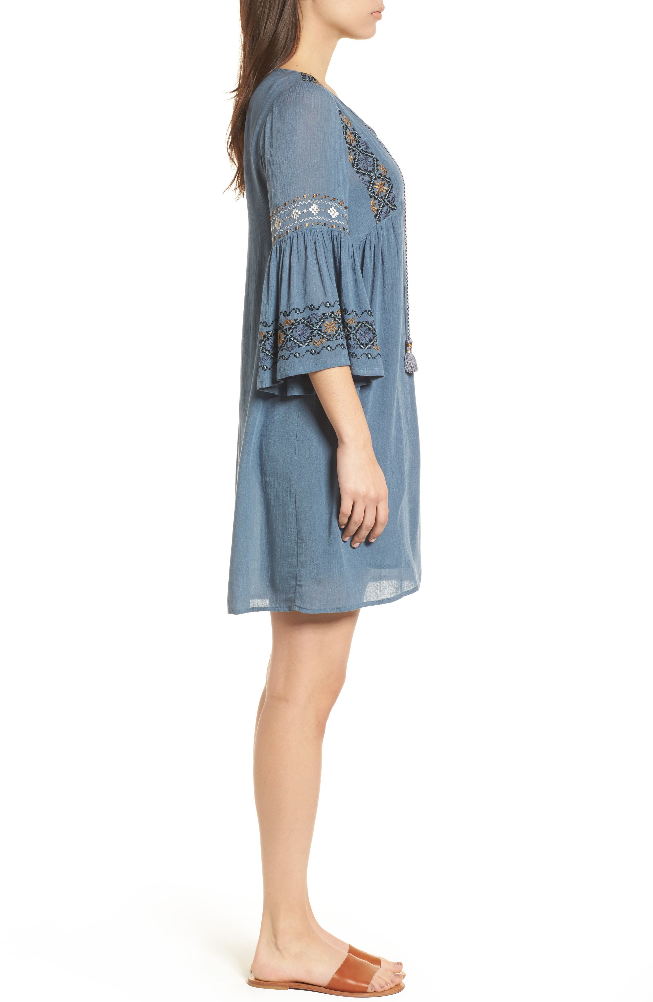 Embroidered Bell Sleeve Dress,                             Alternate thumbnail 3, color,                             China Blue
