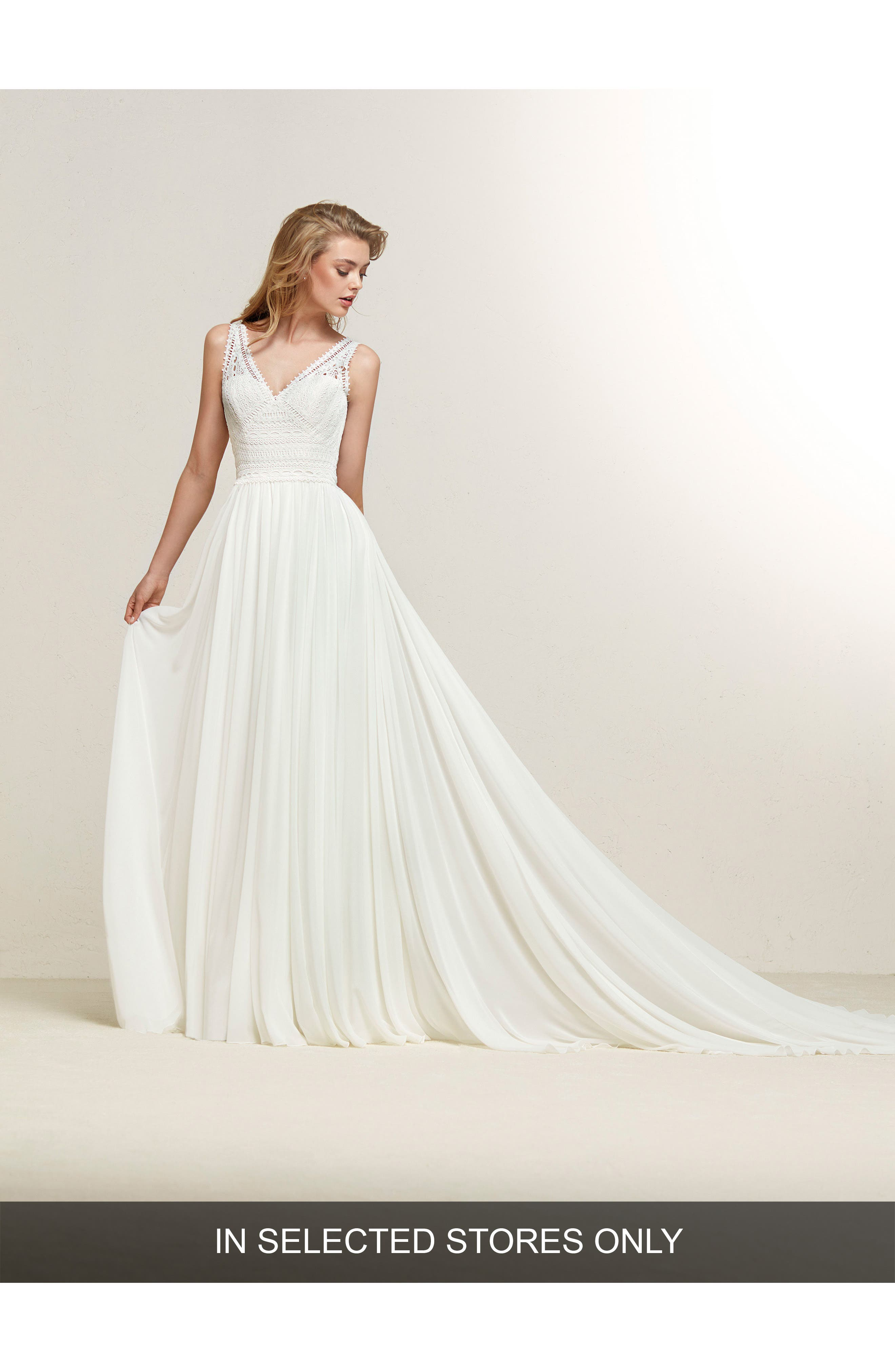 Dramia Lace Bodice Fit & Flare Gown,                         Main,                         color, Off White