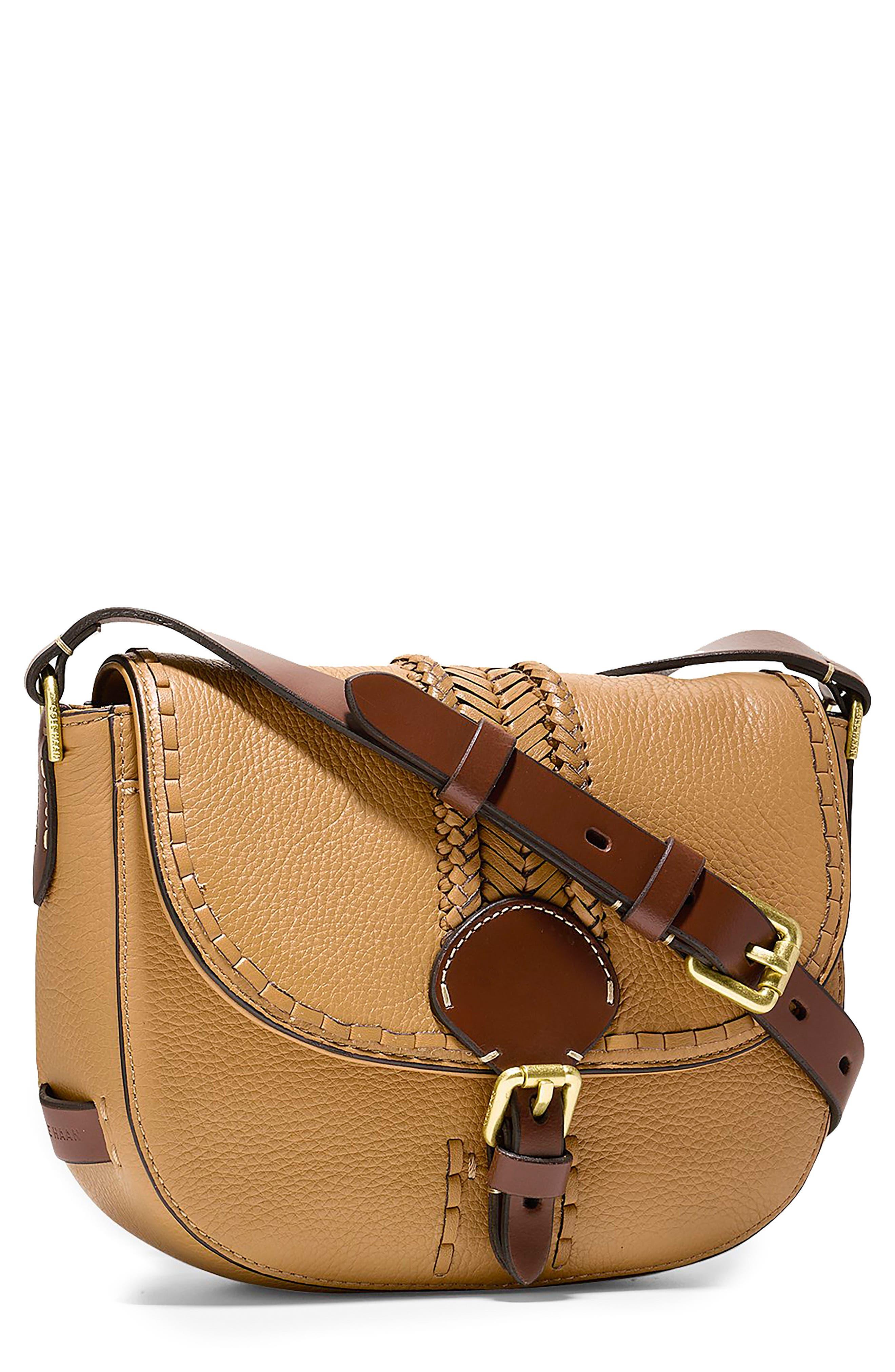 Main Image - Cole Haan Mini Loralie Whipstitch Leather Saddle Bag