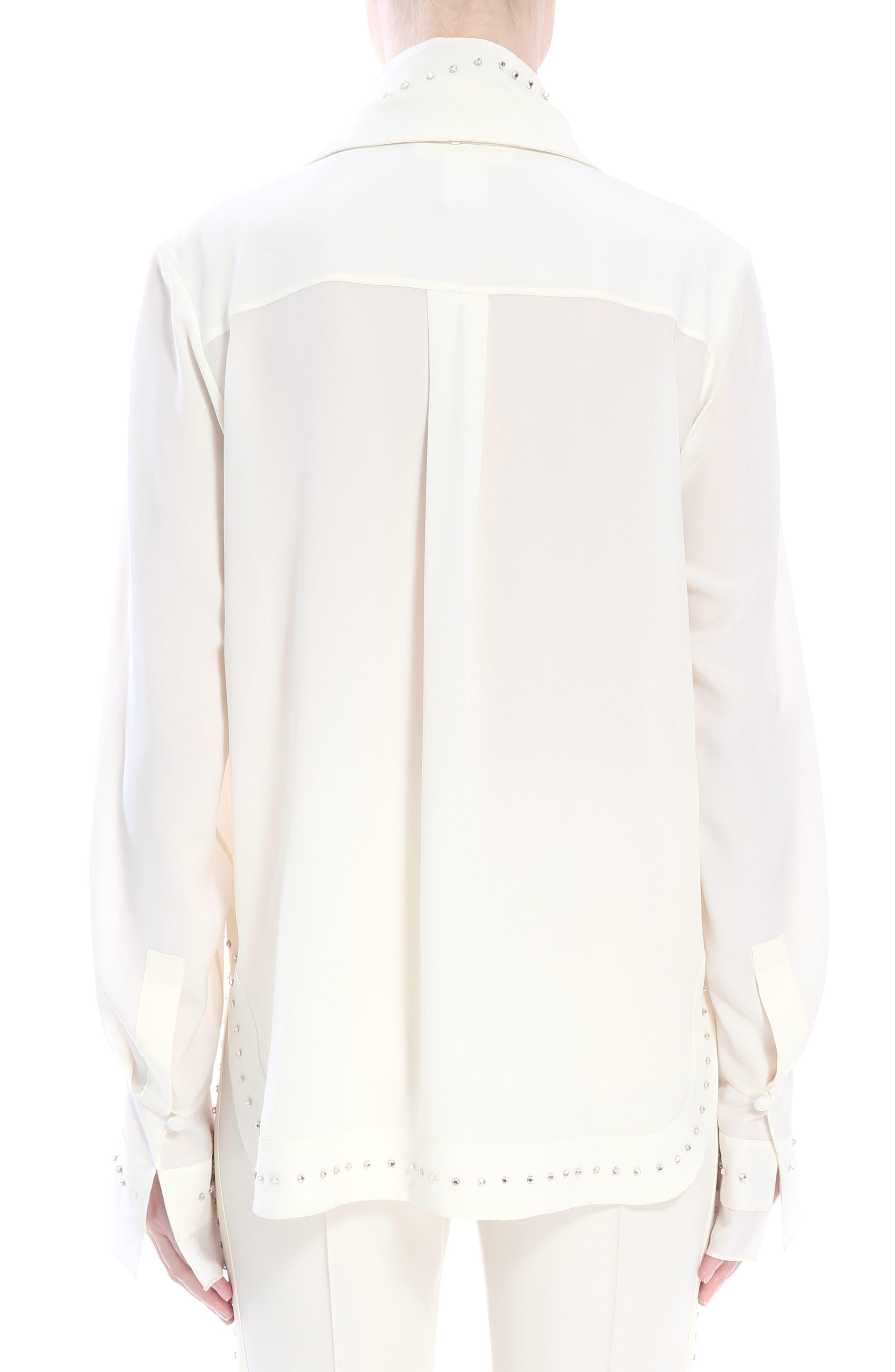 Rhinstone Trim Silk Shirt with Scarf,                             Alternate thumbnail 3, color,                             Eden White