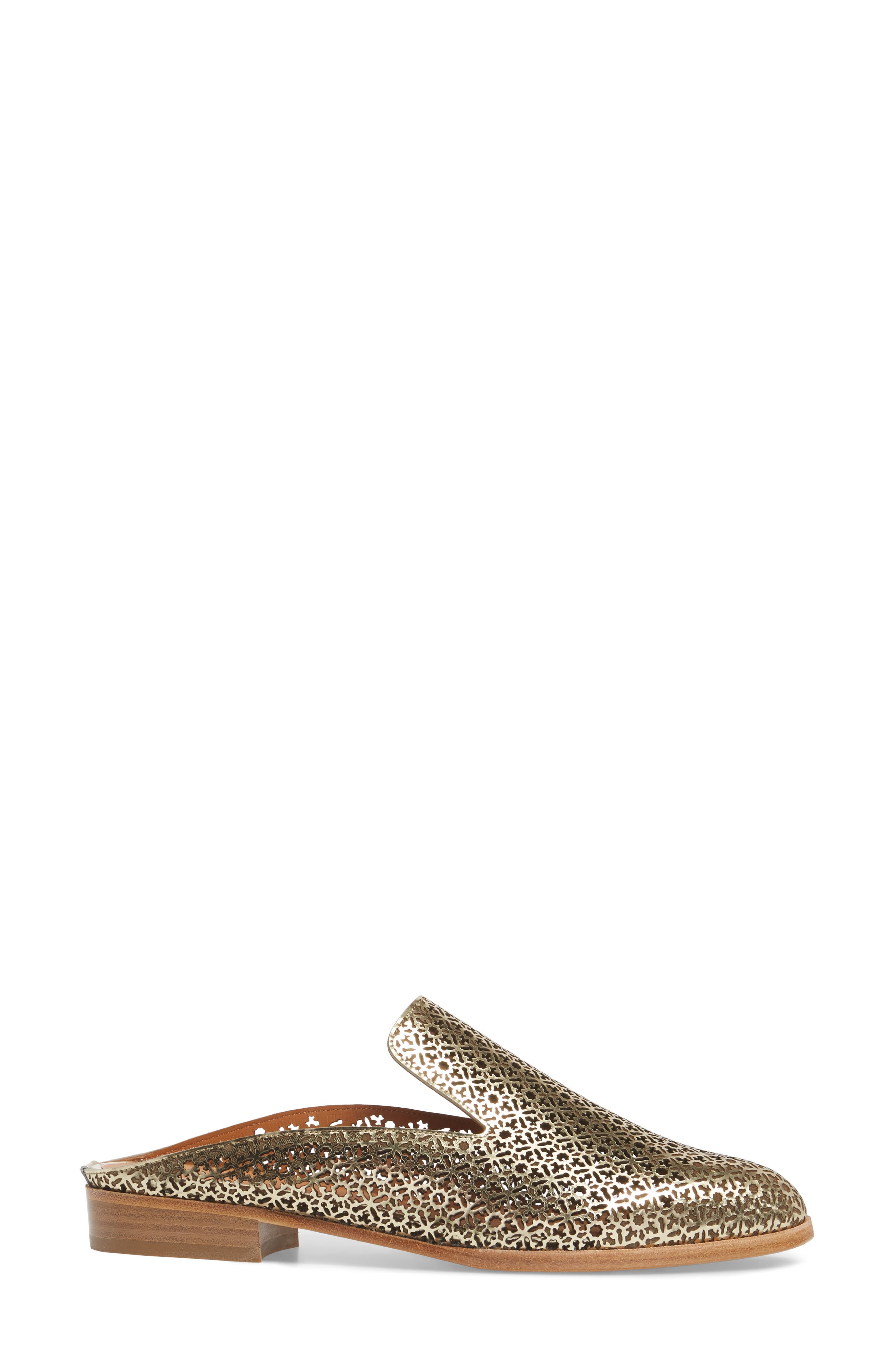 Asier Perforated Loafer Mule,                             Alternate thumbnail 3, color,                             Platino