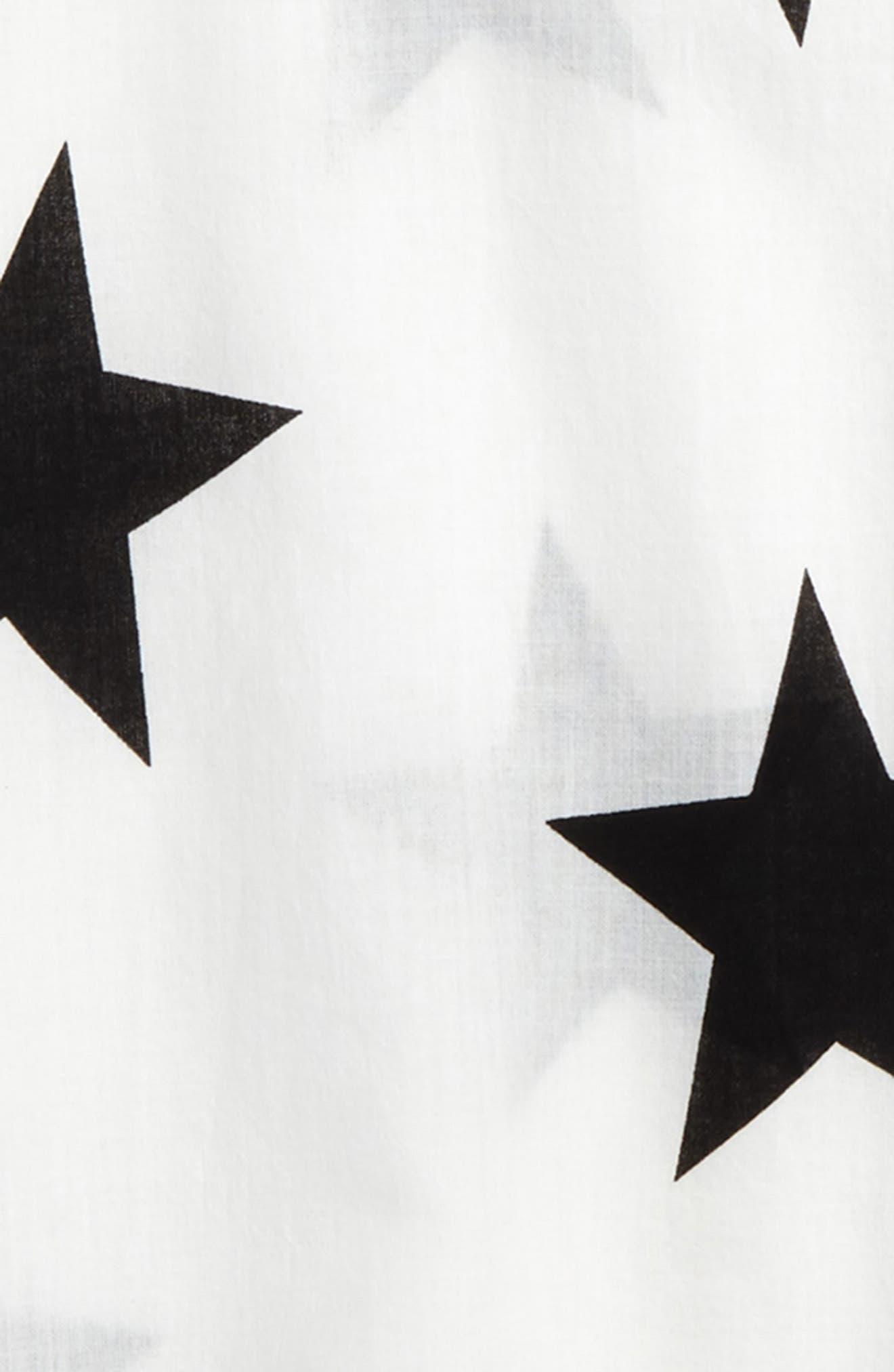 Star Print Cover-Up Caftan,                             Alternate thumbnail 2, color,                             White