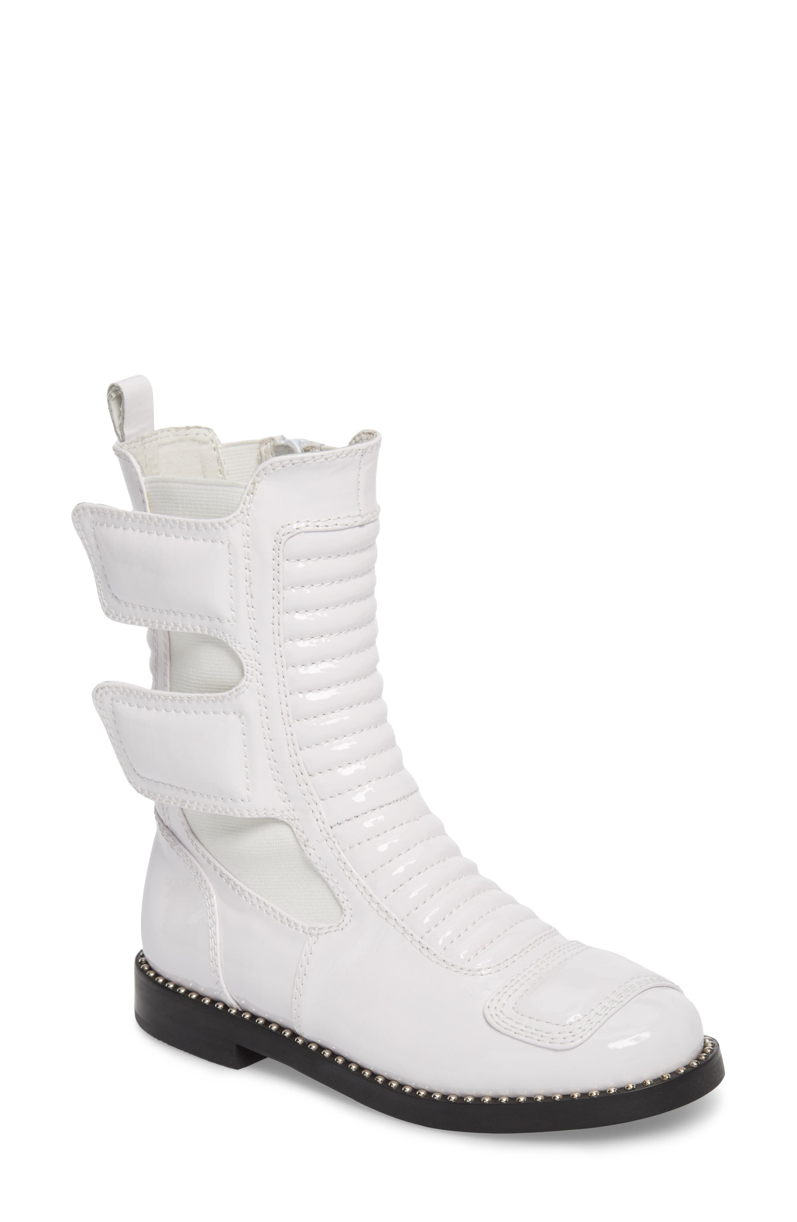 Police Boot,                             Main thumbnail 1, color,                             White Patent Leather