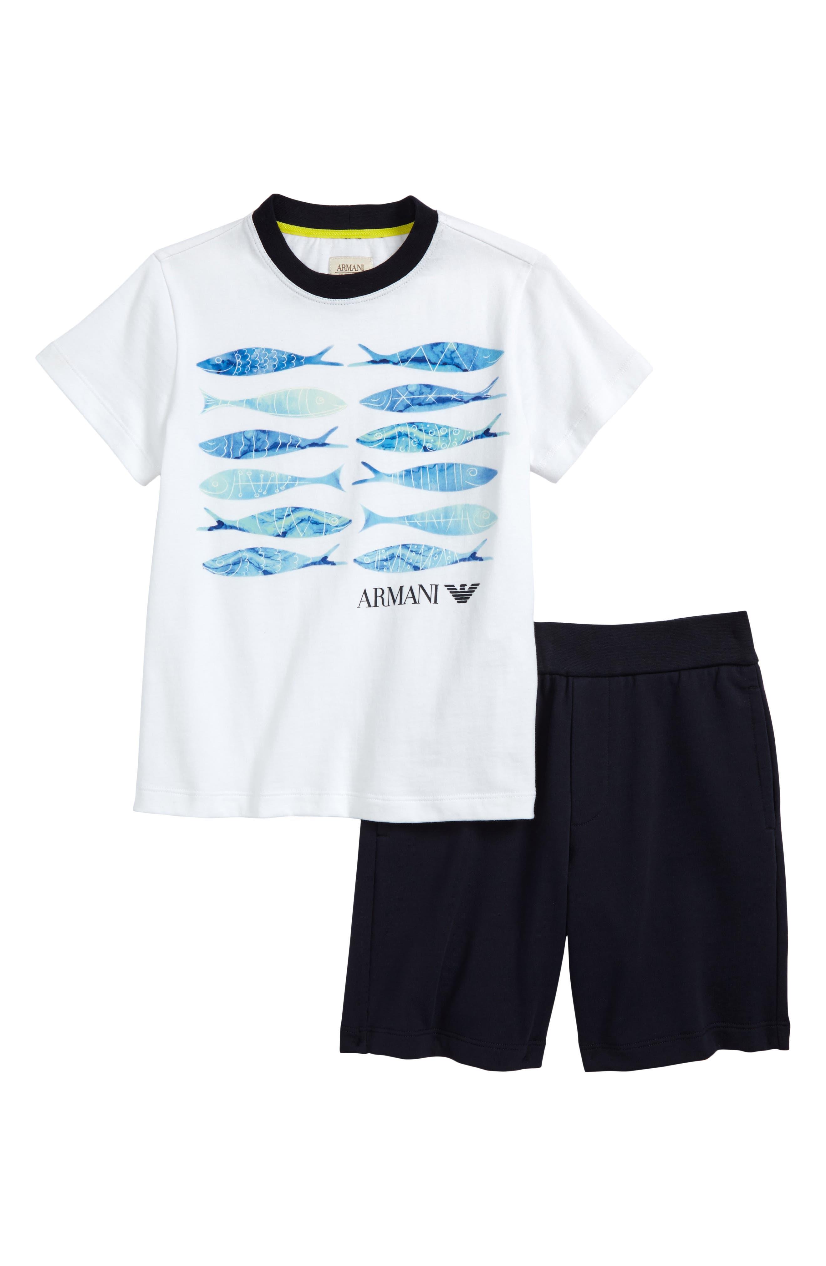 Graphic T-Shirt & Shorts Set,                         Main,                         color, White