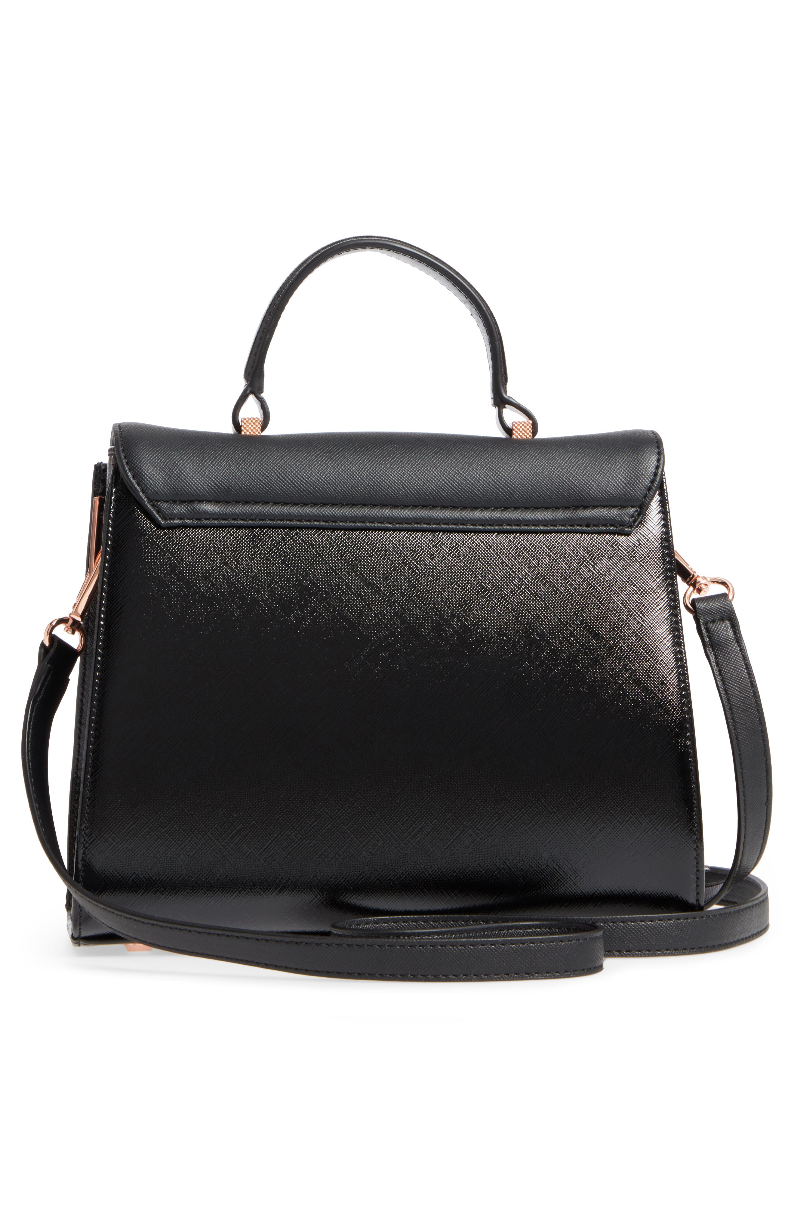 Small Hilaryy Faux Leather Satchel,                             Alternate thumbnail 3, color,                             Black