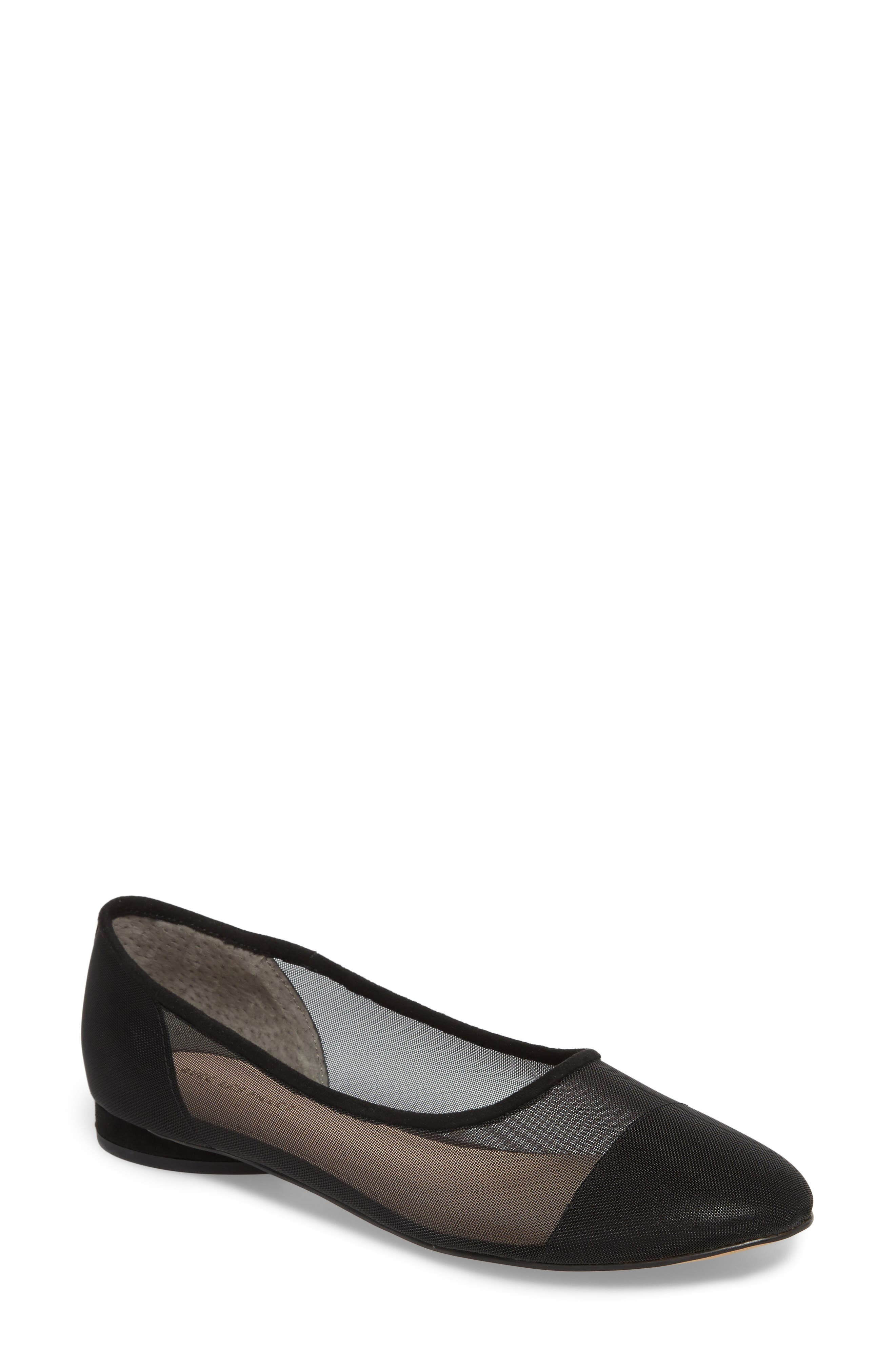 Marian Mesh Inset Flat,                             Main thumbnail 1, color,                             Black Suede