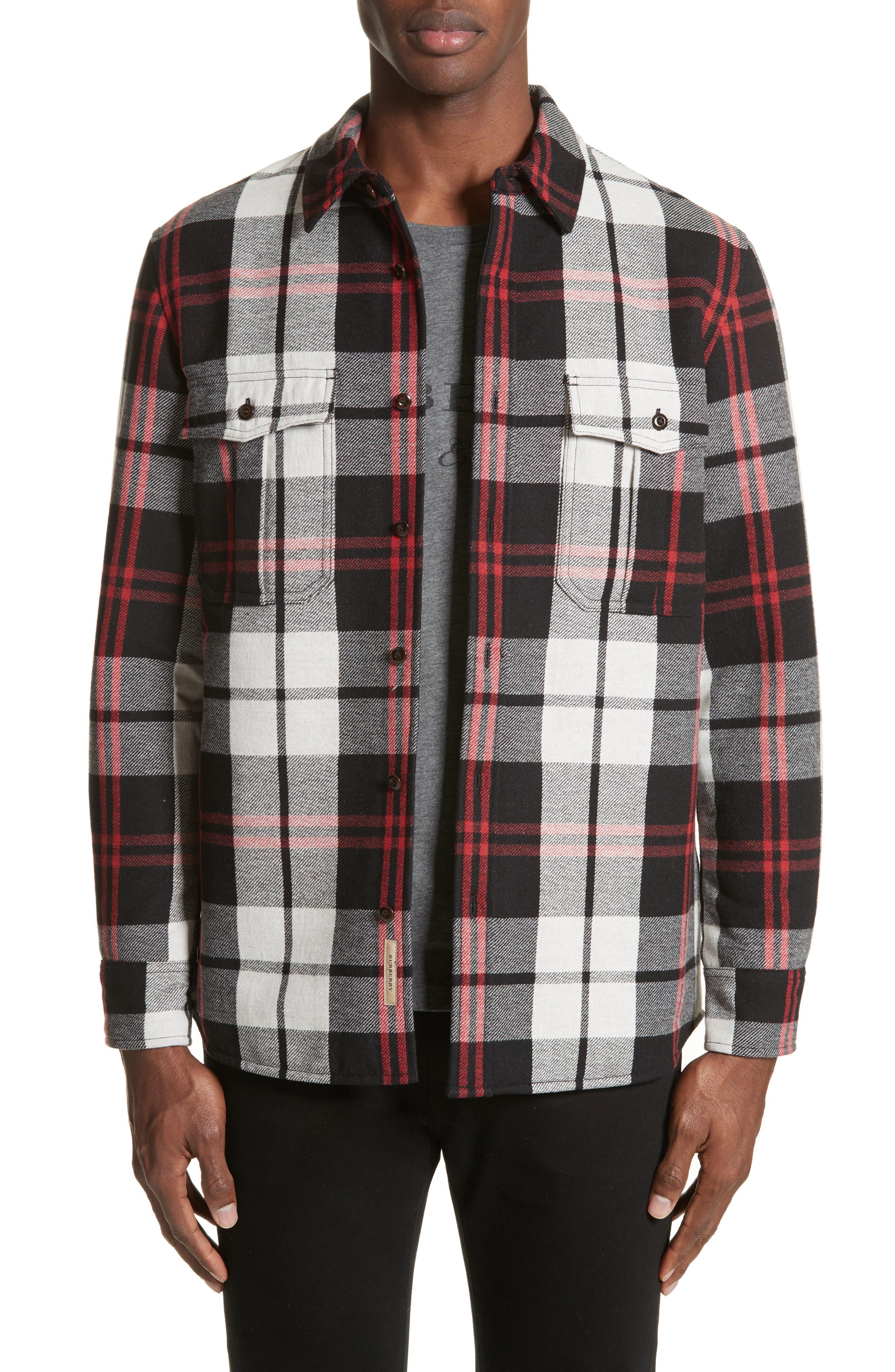 Polesworth Plaid Flannel Shirt,                         Main,                         color, Black