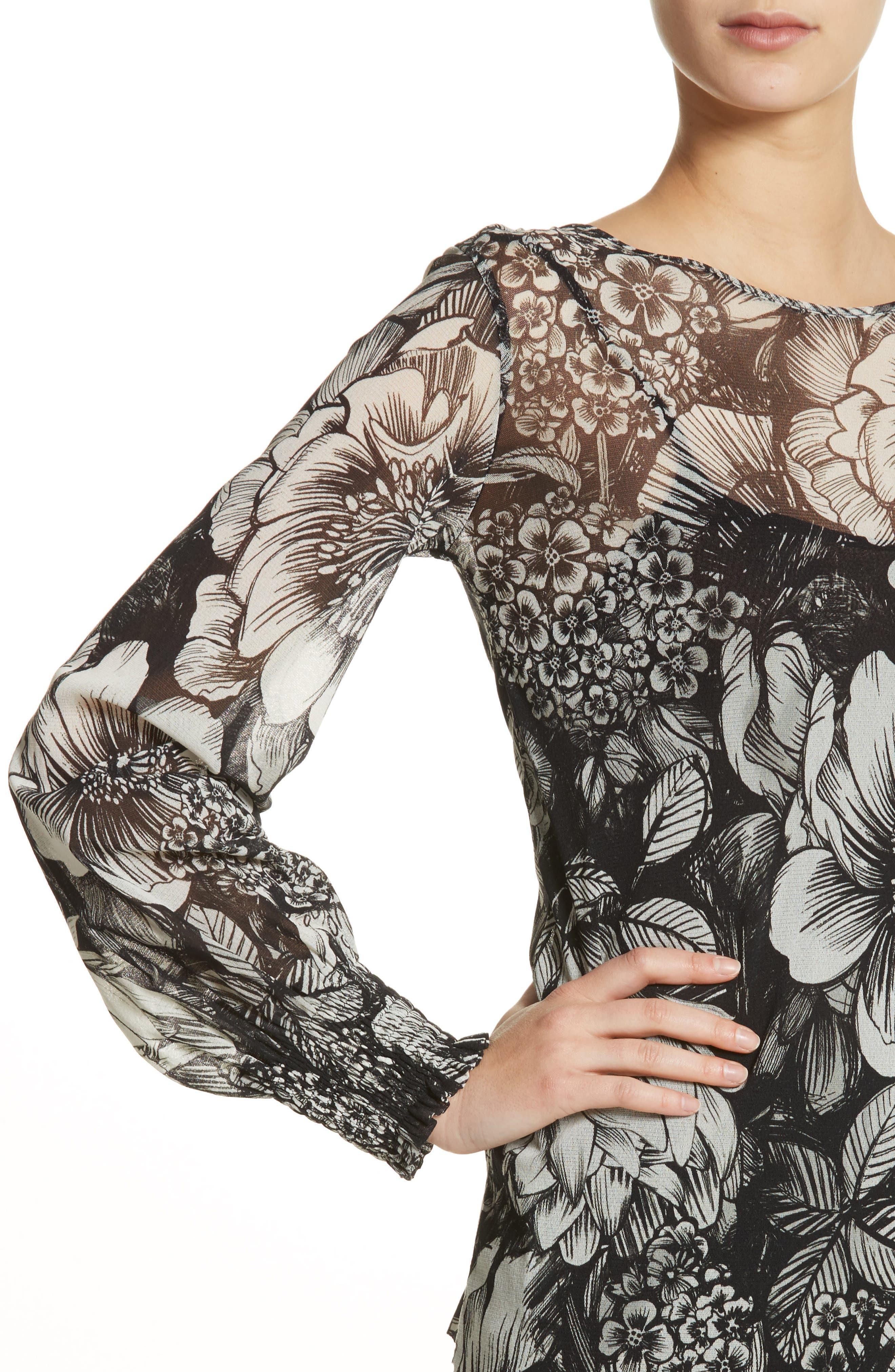 Alternate Image 4  - Fuzzi Floral Print Tulle Blouson Top