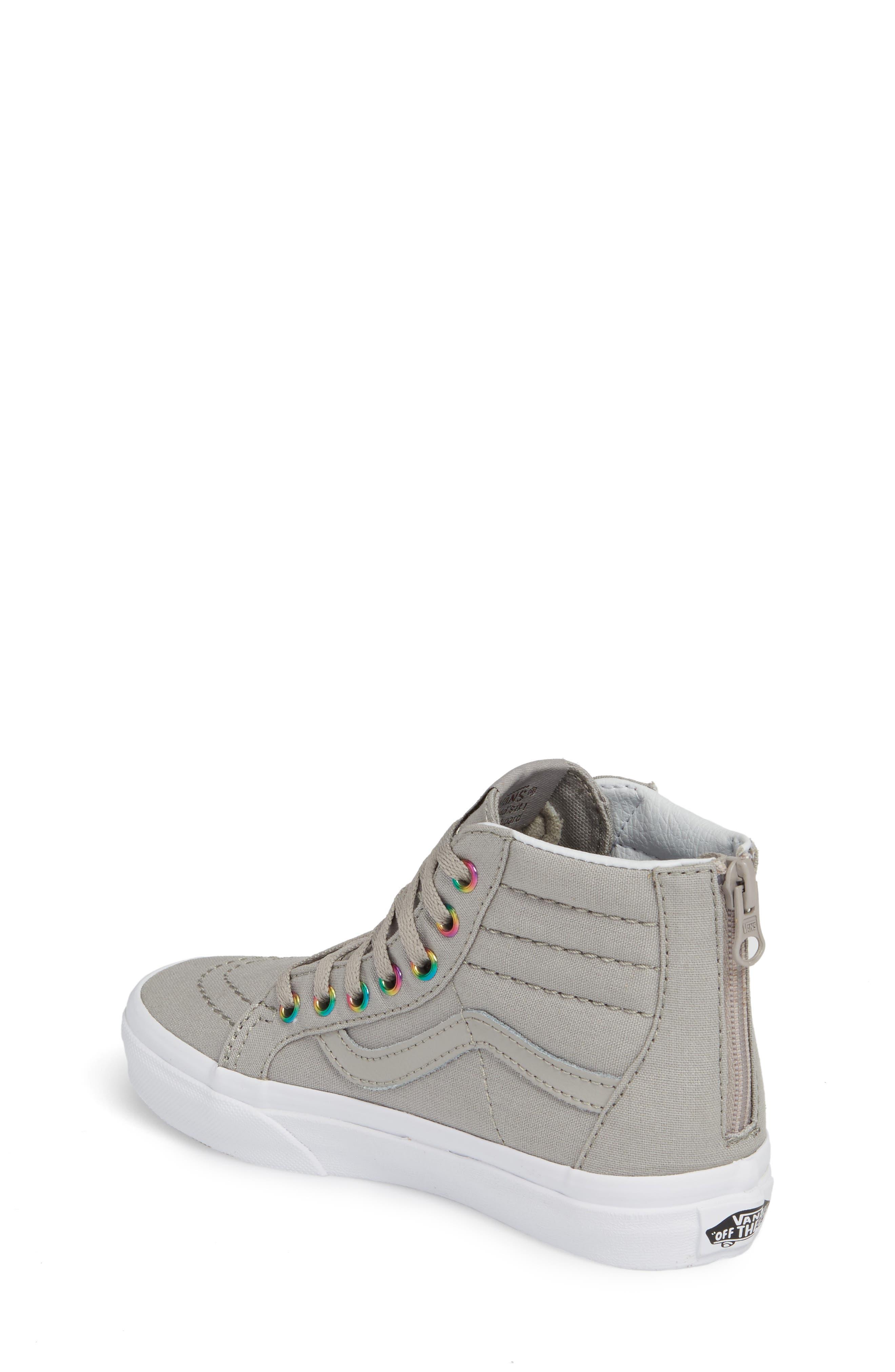 Sk8-Hi Zip High Top Sneaker,                             Alternate thumbnail 2, color,                             Rainbow Eyelet Drizzle
