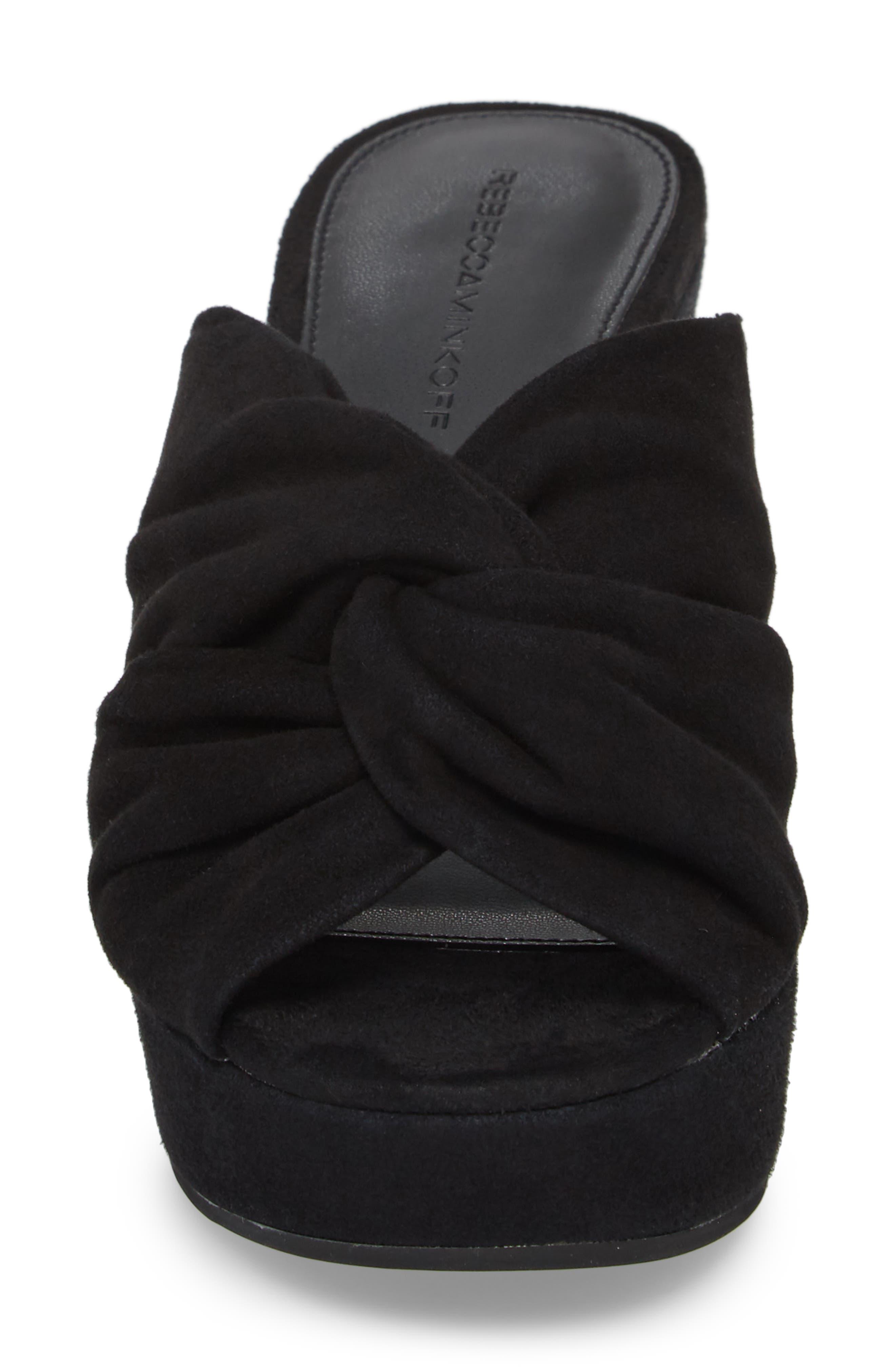 Jaden Slide Sandal,                             Alternate thumbnail 4, color,                             Black Satin
