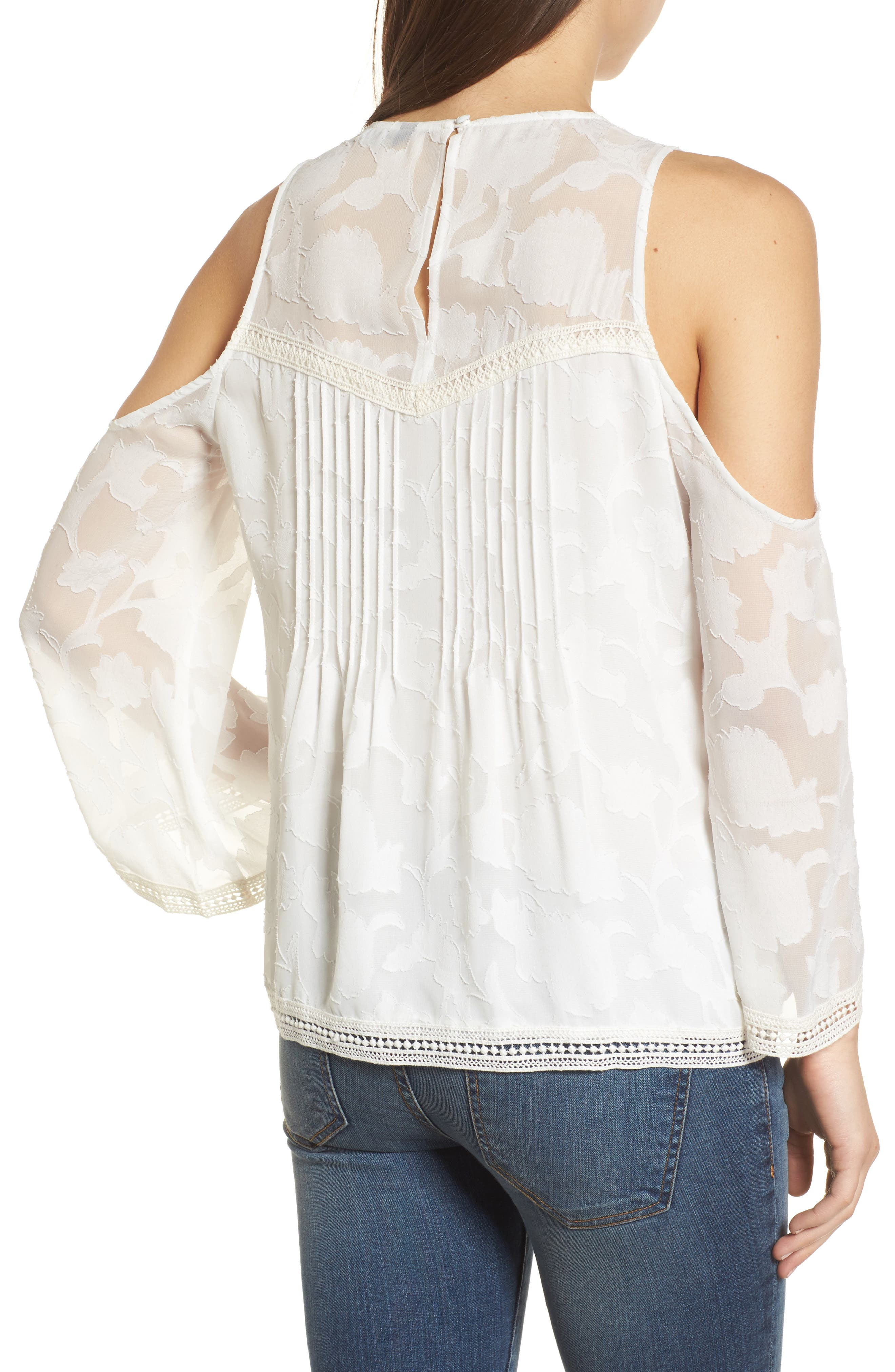Cold Shoulder Jacquard Shirt,                             Alternate thumbnail 2, color,                             Lucky White