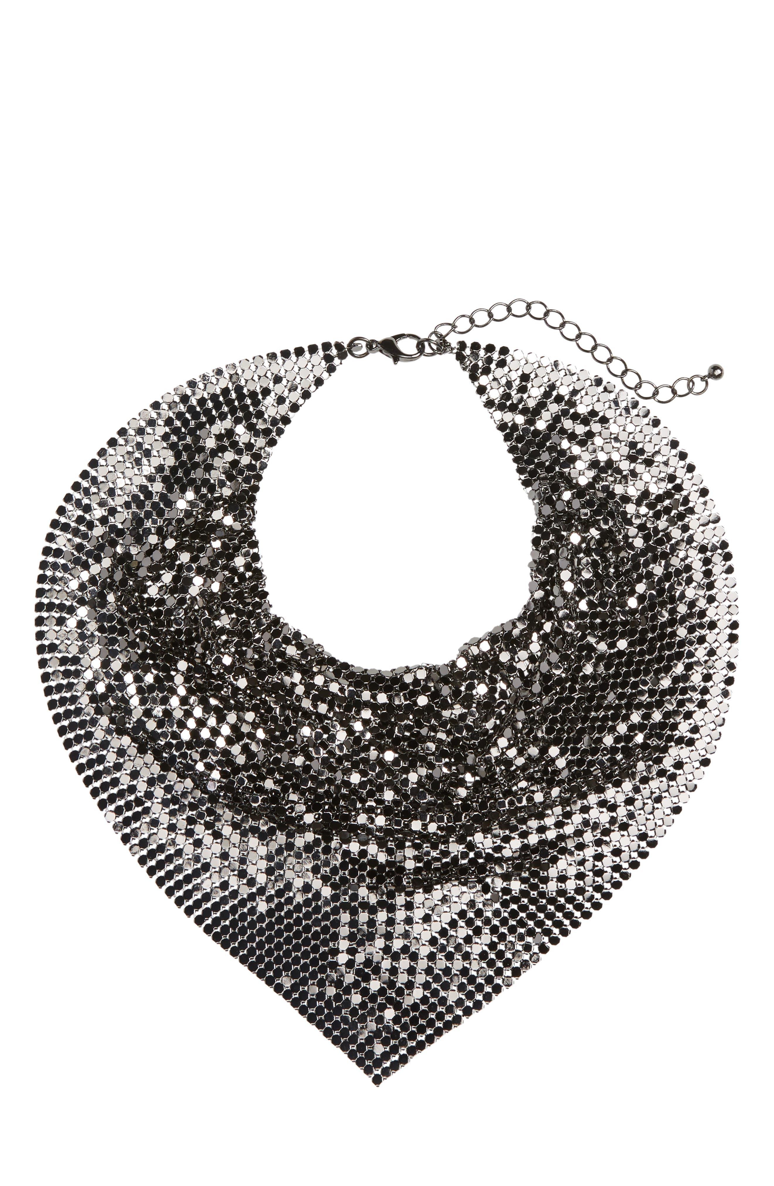 Metal Mesh Kerchief Necklace,                         Main,                         color, Hematite