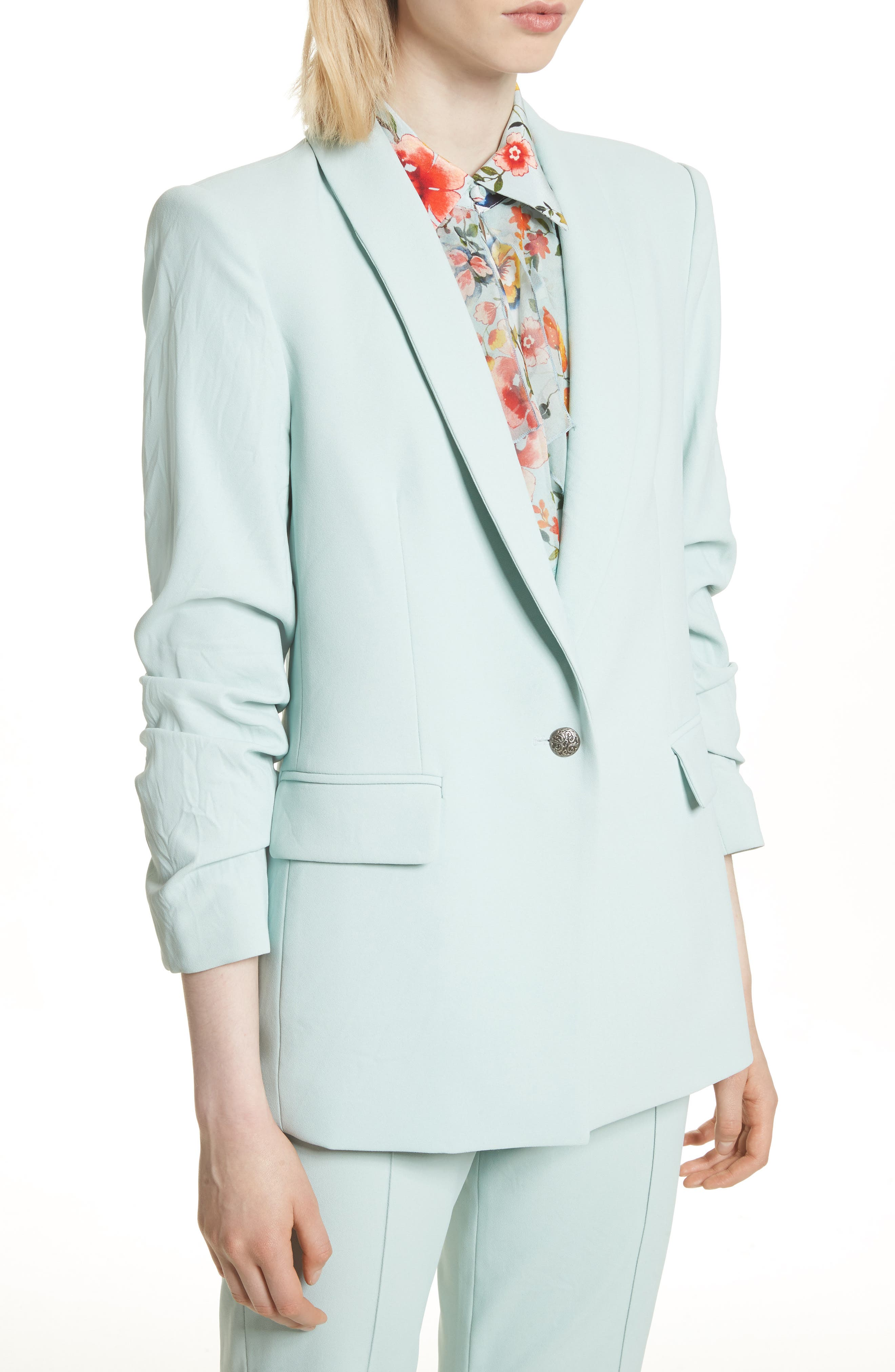 Ruched Sleeve Blazer,                             Alternate thumbnail 4, color,                             Light Dusty Aqua