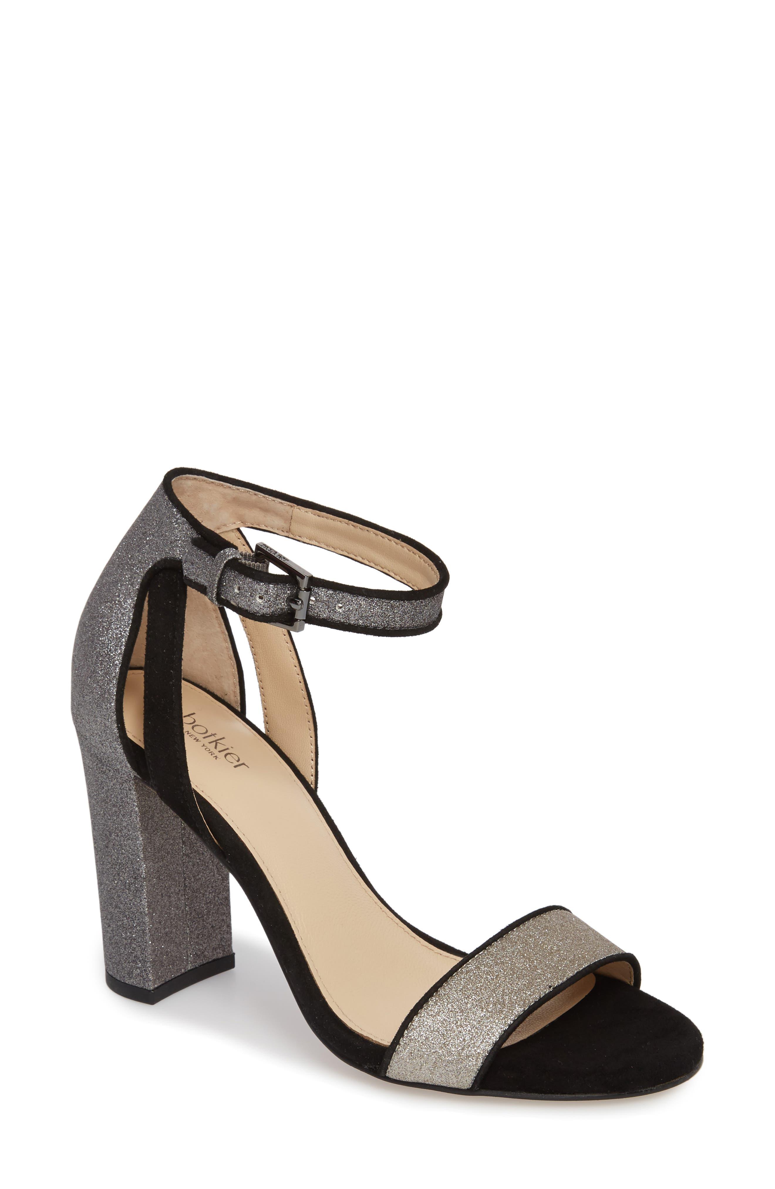 Gianna Ankle Strap Sandal,                             Main thumbnail 1, color,                             Gunmetal Glitter