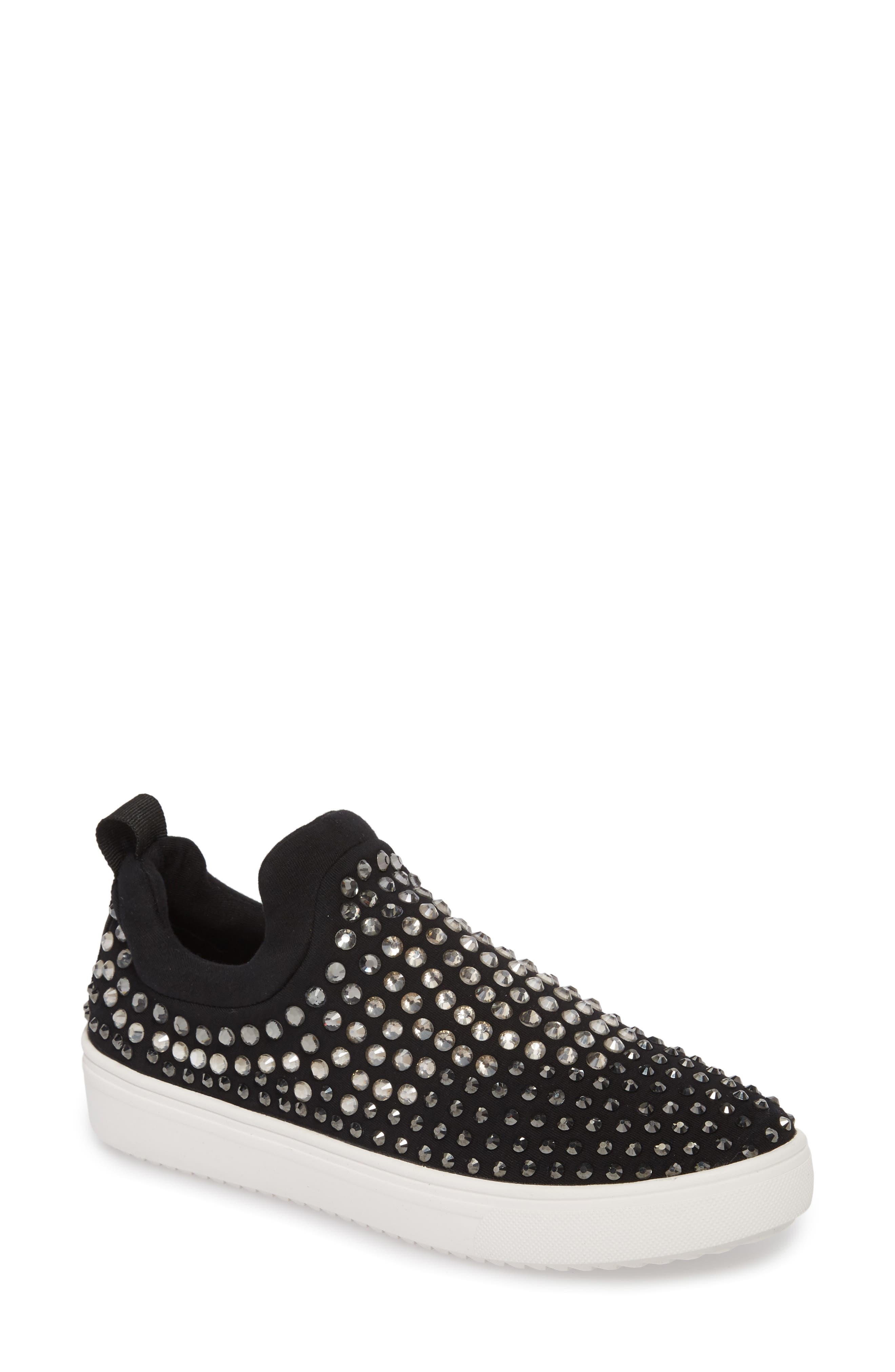 Sherry Crystal Embellished Sneaker,                             Main thumbnail 1, color,                             Black Multi Fabric