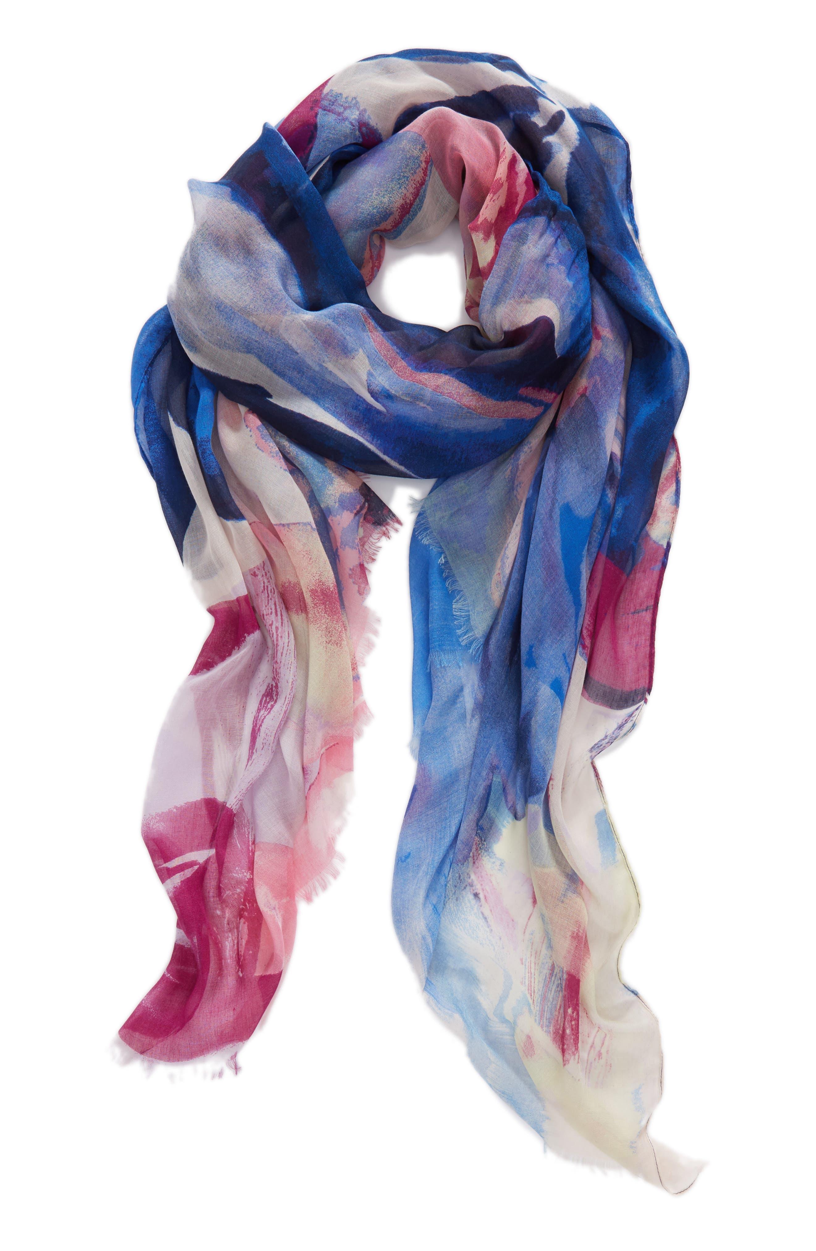 Print Modal & Silk Scarf,                             Alternate thumbnail 2, color,                             Blue Maxi Floral