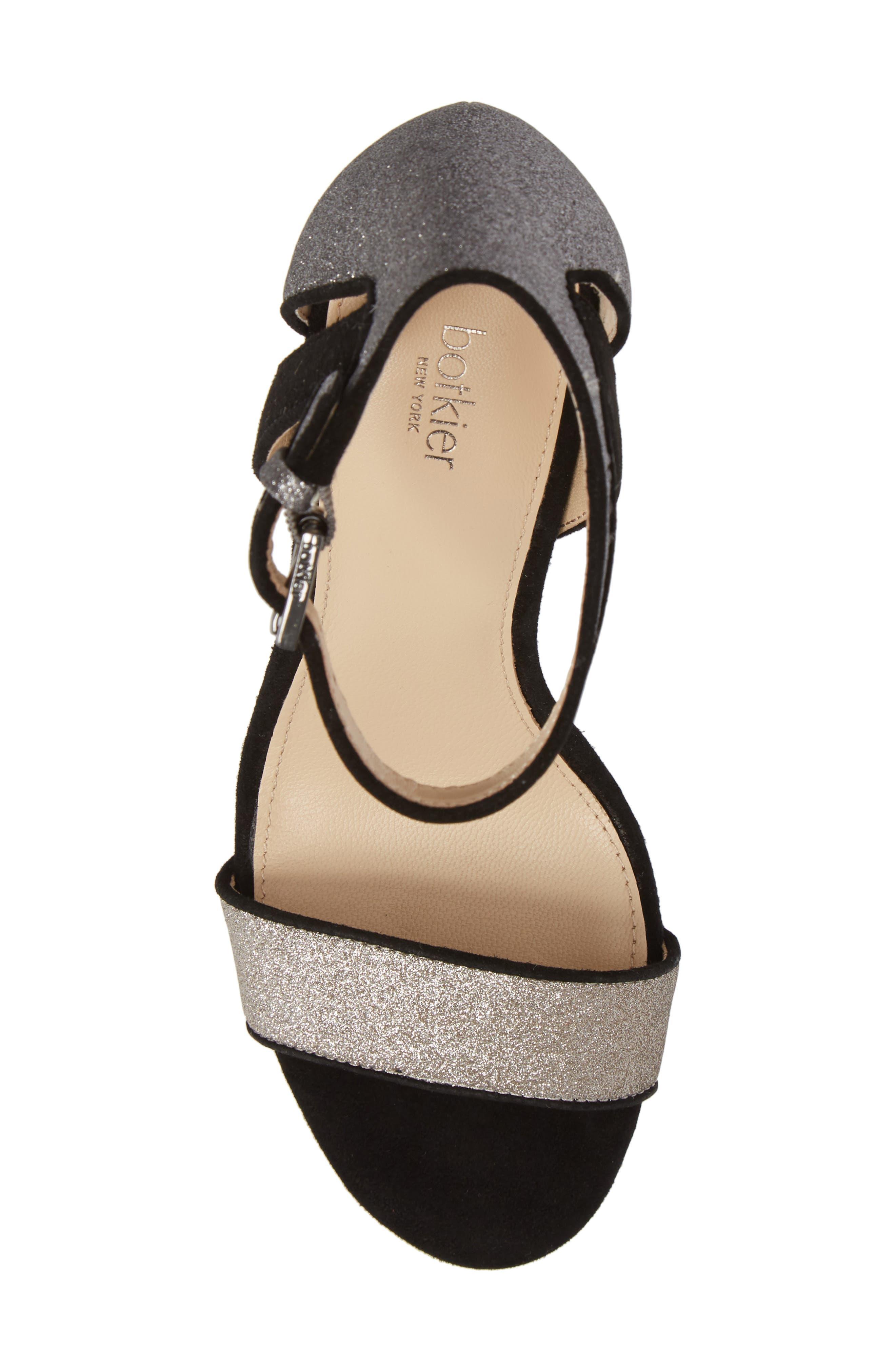 Gianna Ankle Strap Sandal,                             Alternate thumbnail 5, color,                             Gunmetal Glitter
