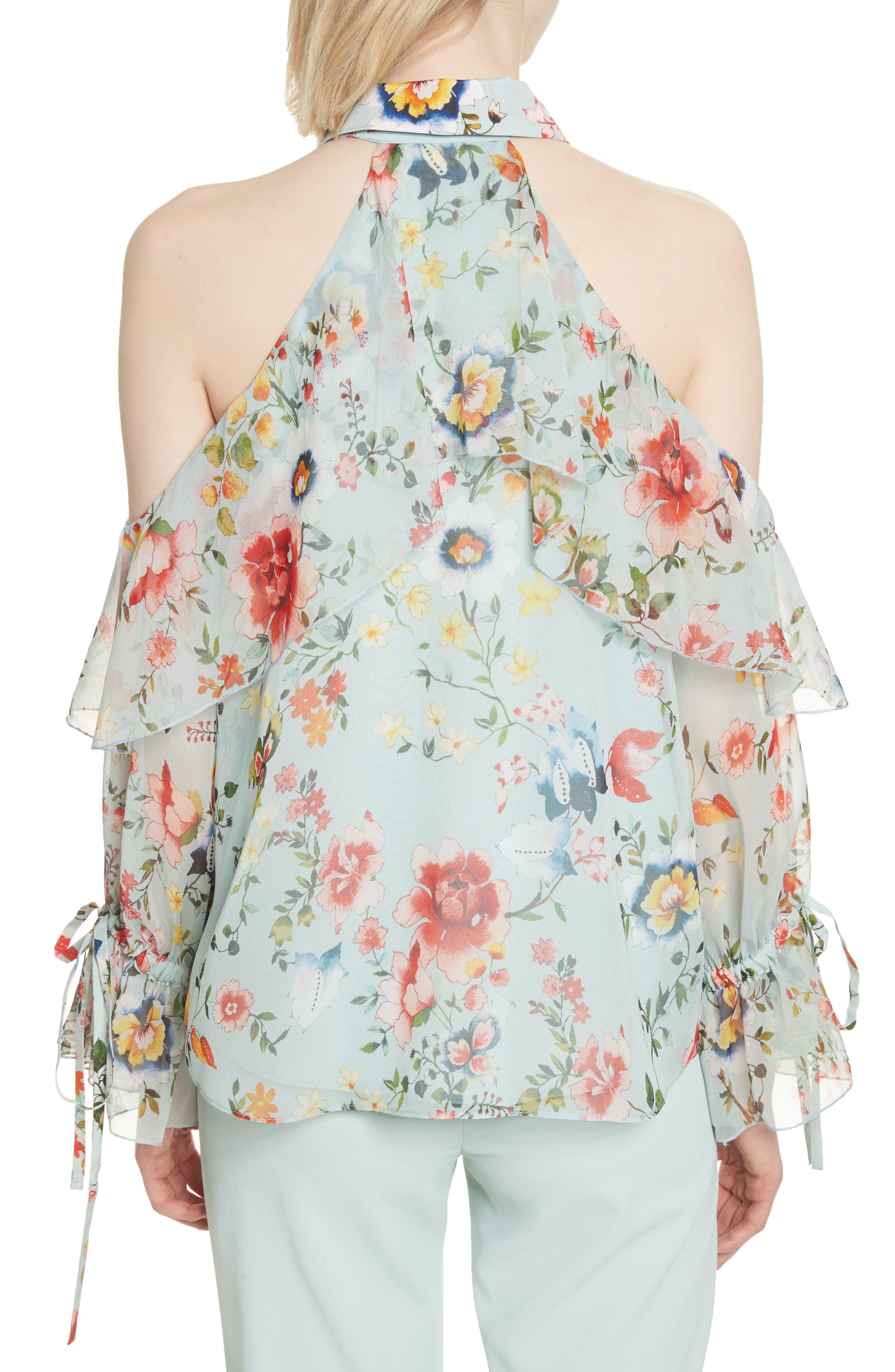 Blayne Cold Shoulder Floral Silk Blouse,                             Alternate thumbnail 2, color,                             Floral Soiree-Dusty Aqua