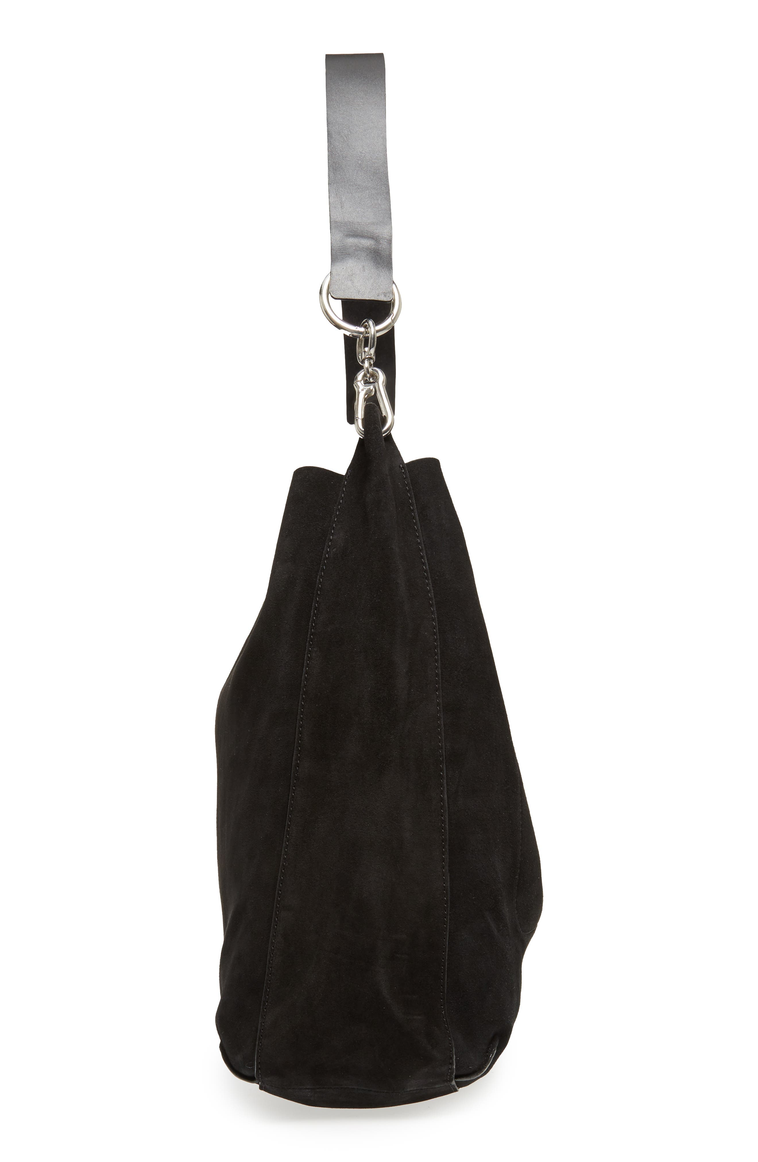 Asymmetric Suede Hobo Bag,                             Alternate thumbnail 5, color,                             Black