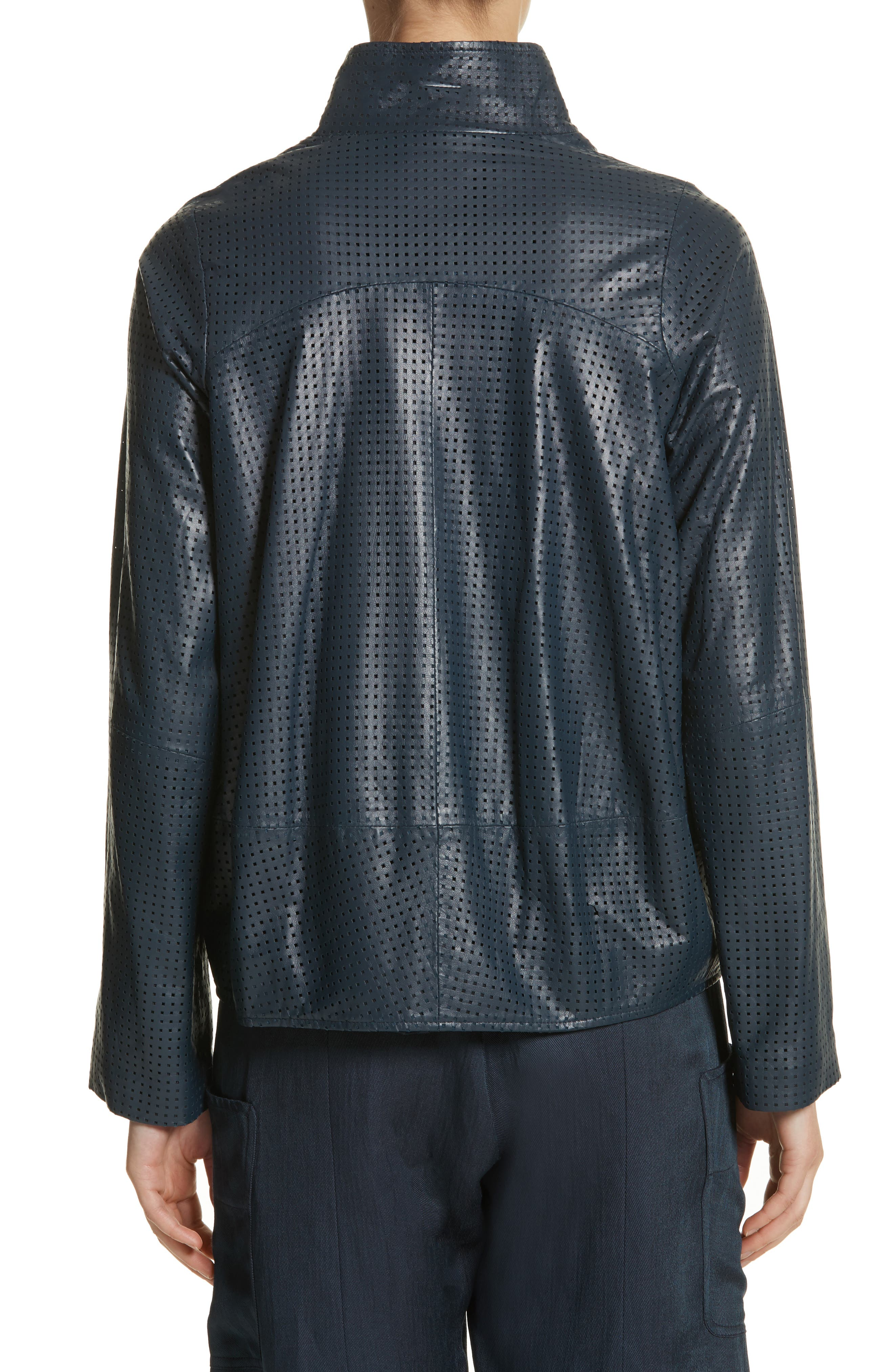 Perforated Nappa Leather Jacket,                             Alternate thumbnail 2, color,                             Ink Jet