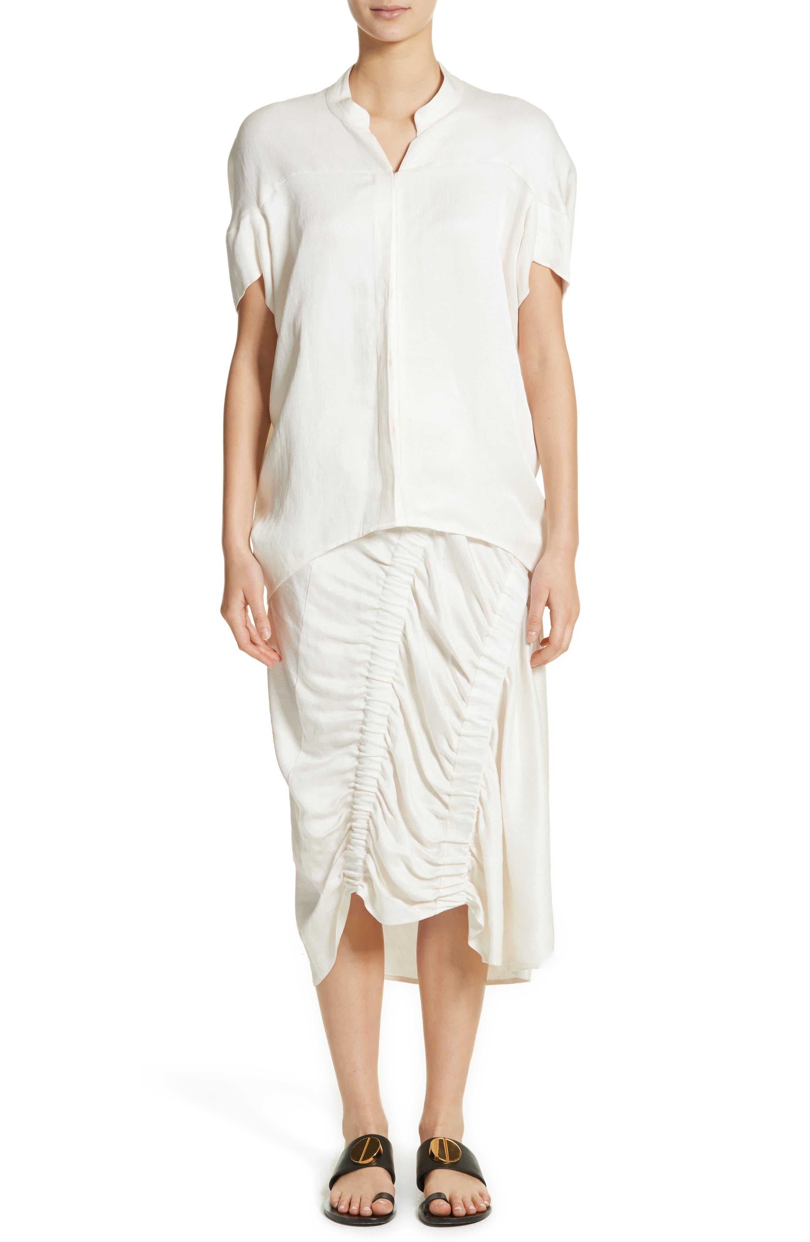 Ruched Drape Skirt,                             Alternate thumbnail 8, color,                             White Pepper