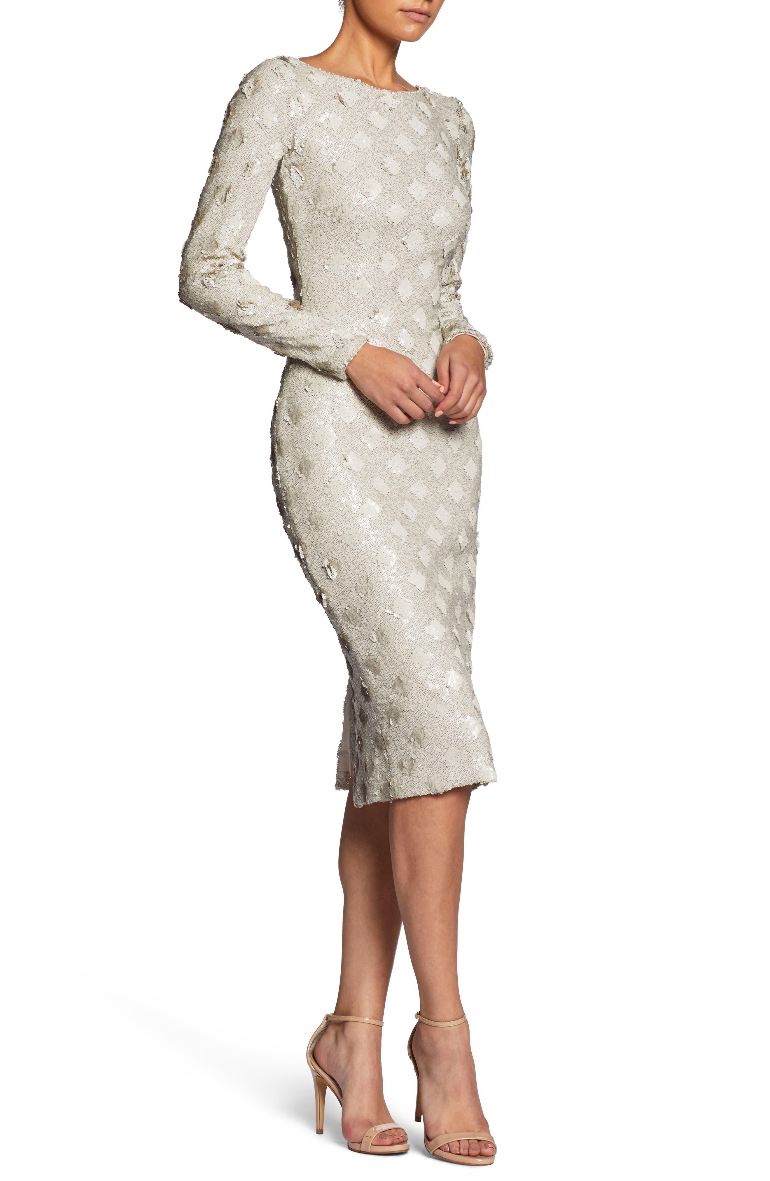 Emery Sequin Sheath Dress,                             Alternate thumbnail 4, color,                             Bone
