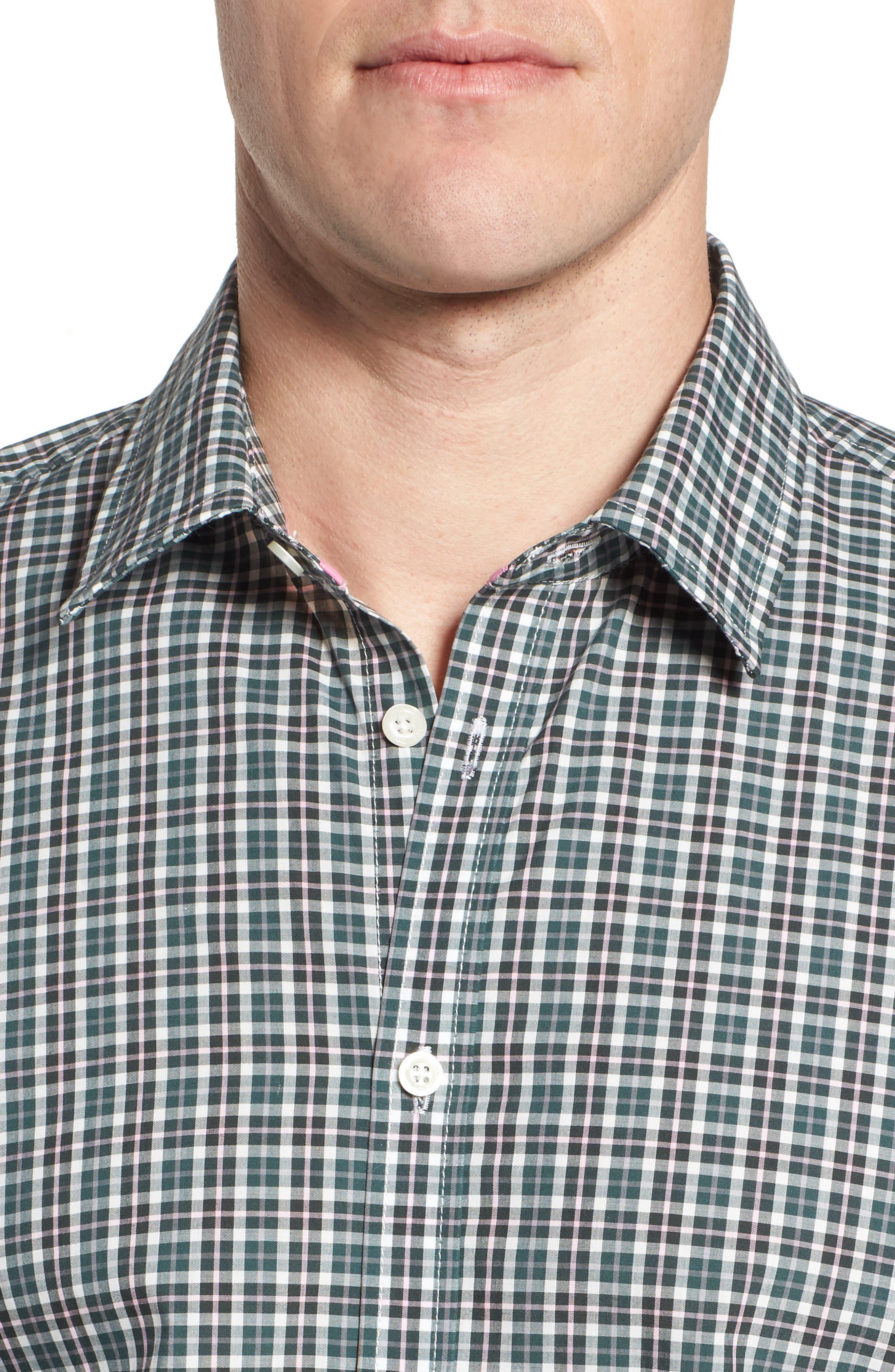 Comfort Fit Plaid Sport Shirt,                             Alternate thumbnail 4, color,                             Medium Green