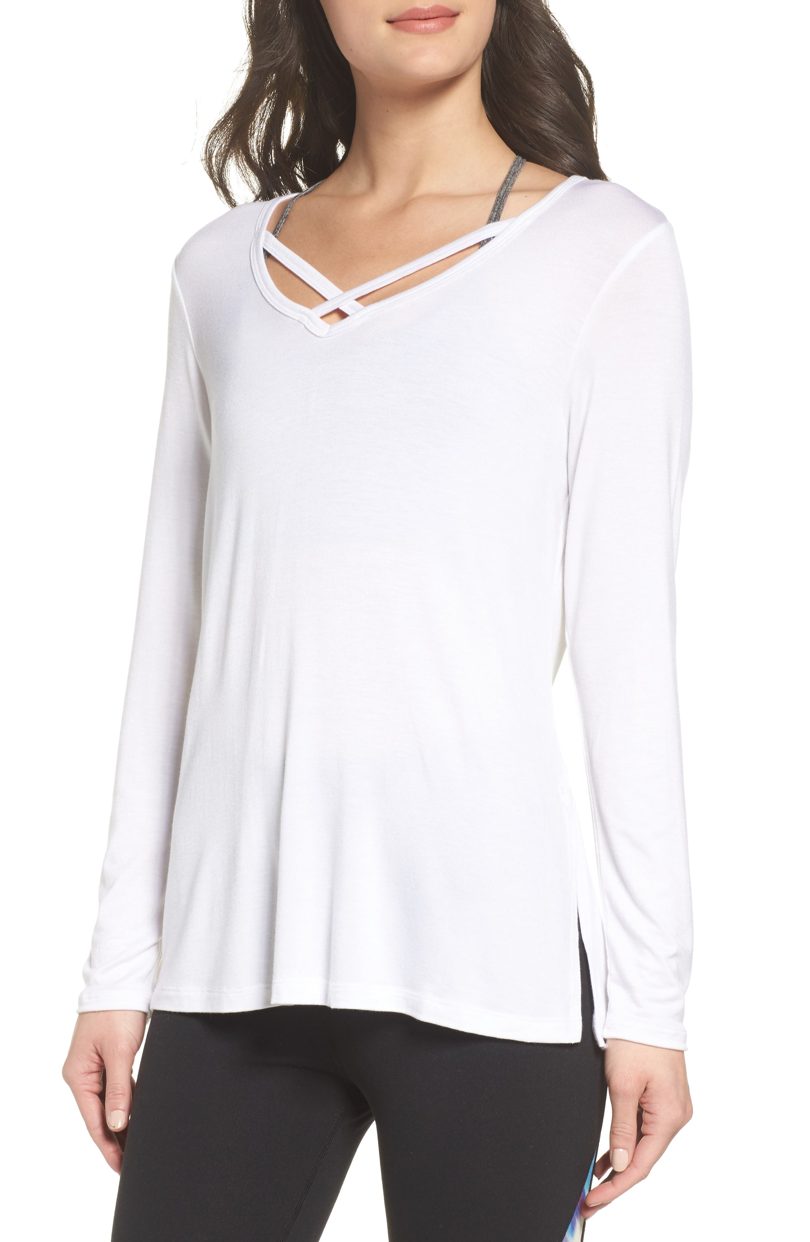 Cross Me Once Top,                         Main,                         color, White