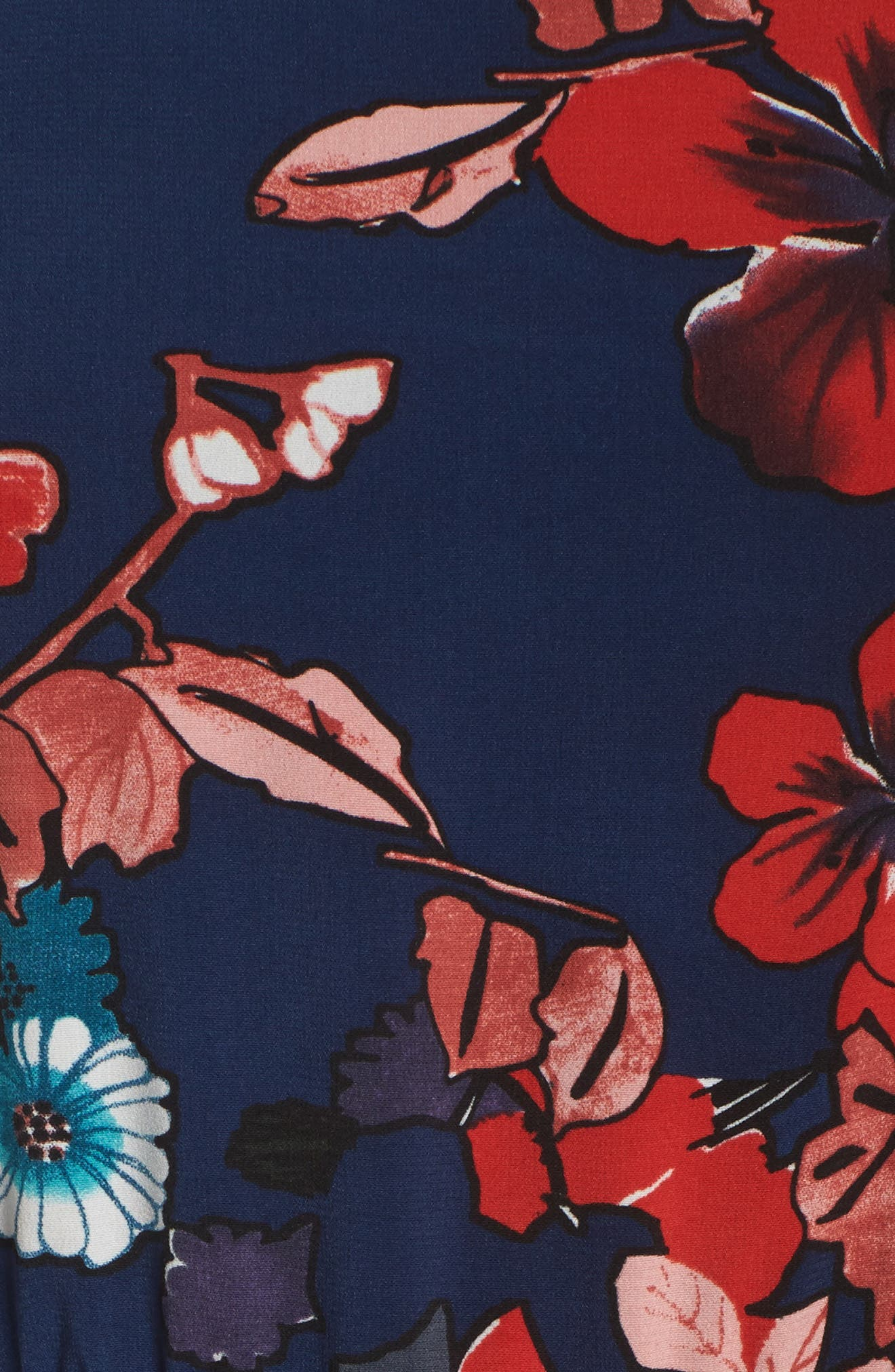 Botanical Soiree Fit & Flare Dress,                             Alternate thumbnail 5, color,                             Blue Multi