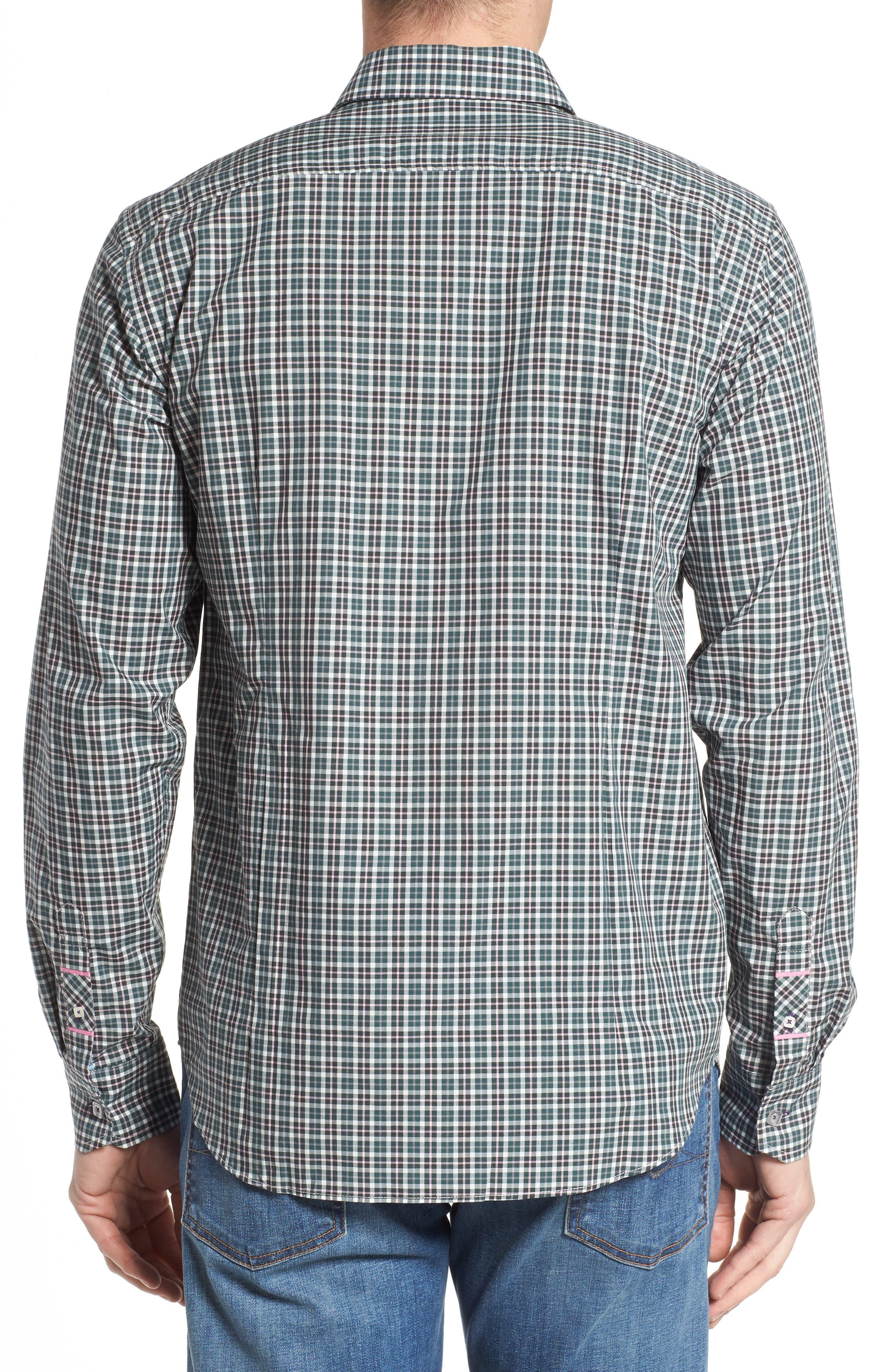 Comfort Fit Plaid Sport Shirt,                             Alternate thumbnail 2, color,                             Medium Green