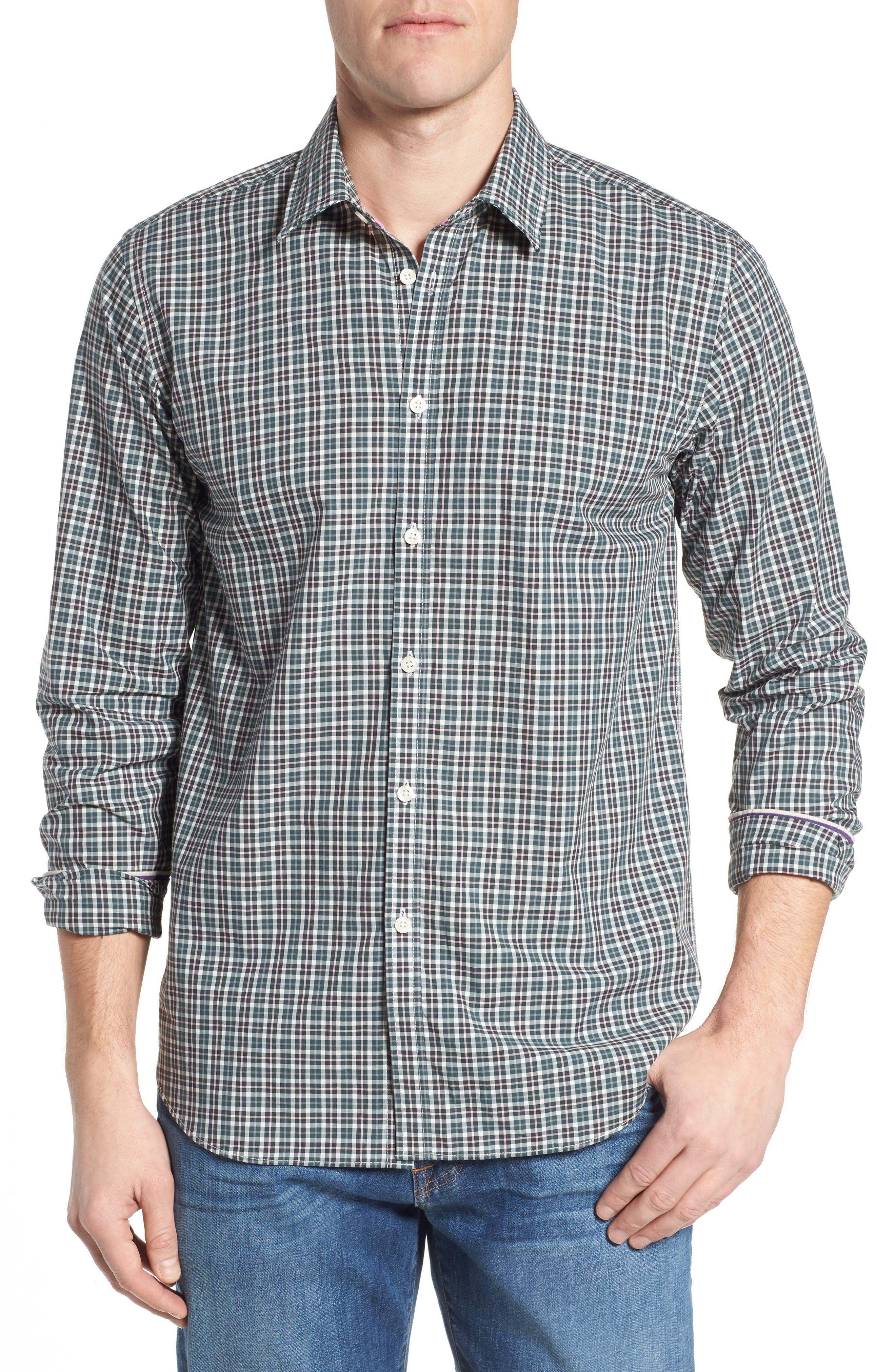 Comfort Fit Plaid Sport Shirt,                         Main,                         color, Medium Green