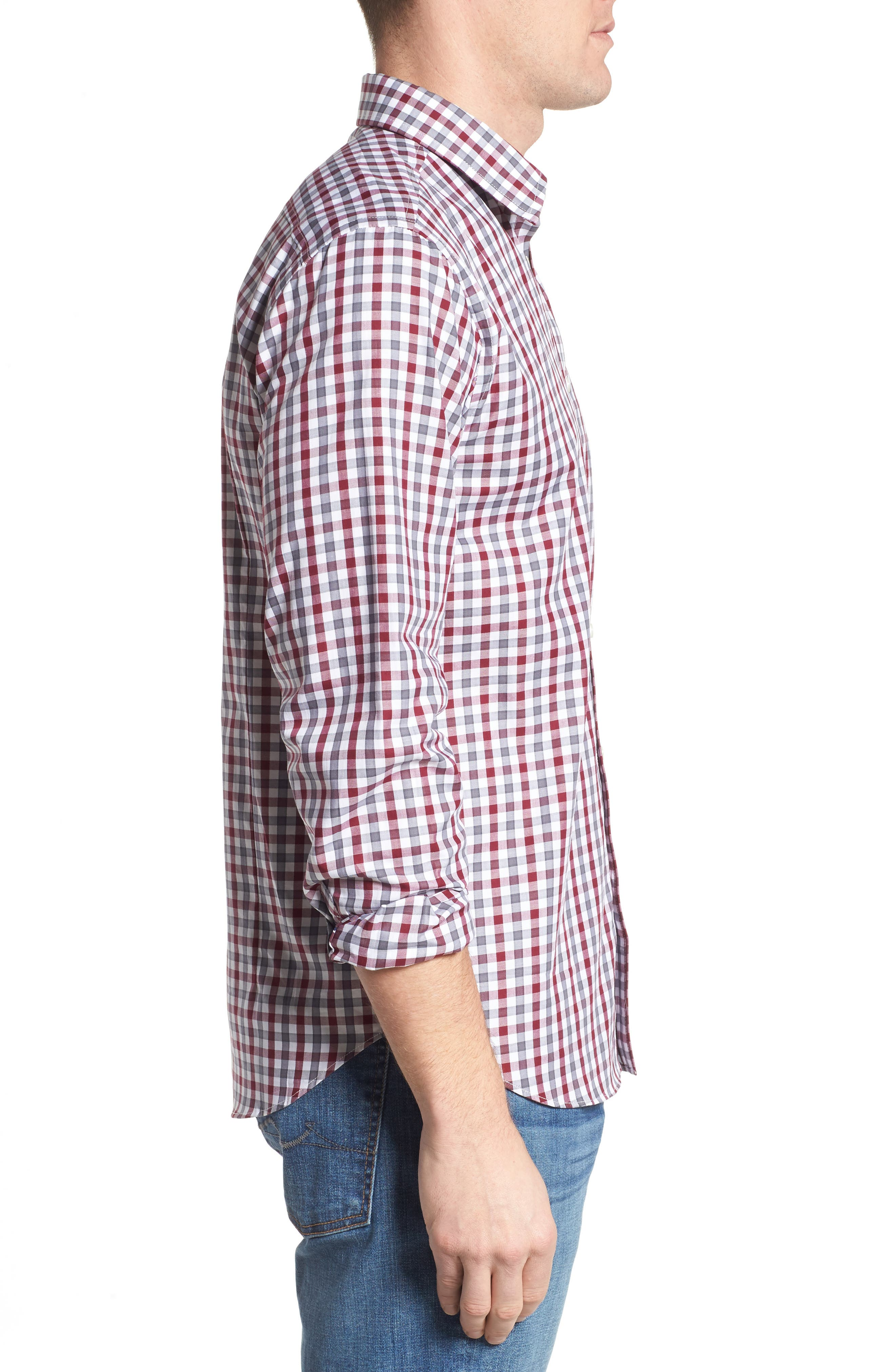 Fitted Check Sport Shirt,                             Alternate thumbnail 3, color,                             Dark Red
