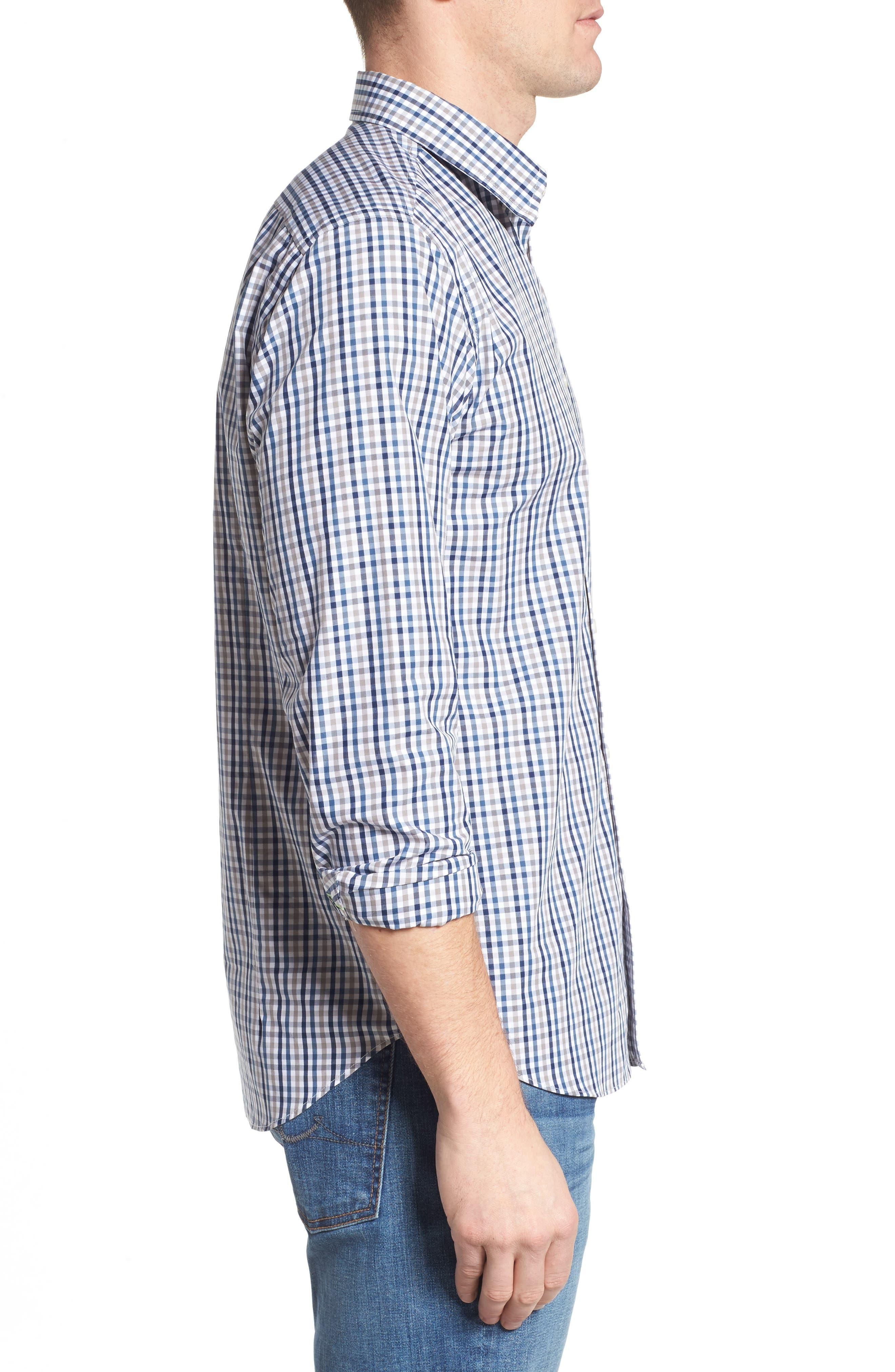 Comfort Fit Check Sport Shirt,                             Alternate thumbnail 3, color,                             Medium Blue