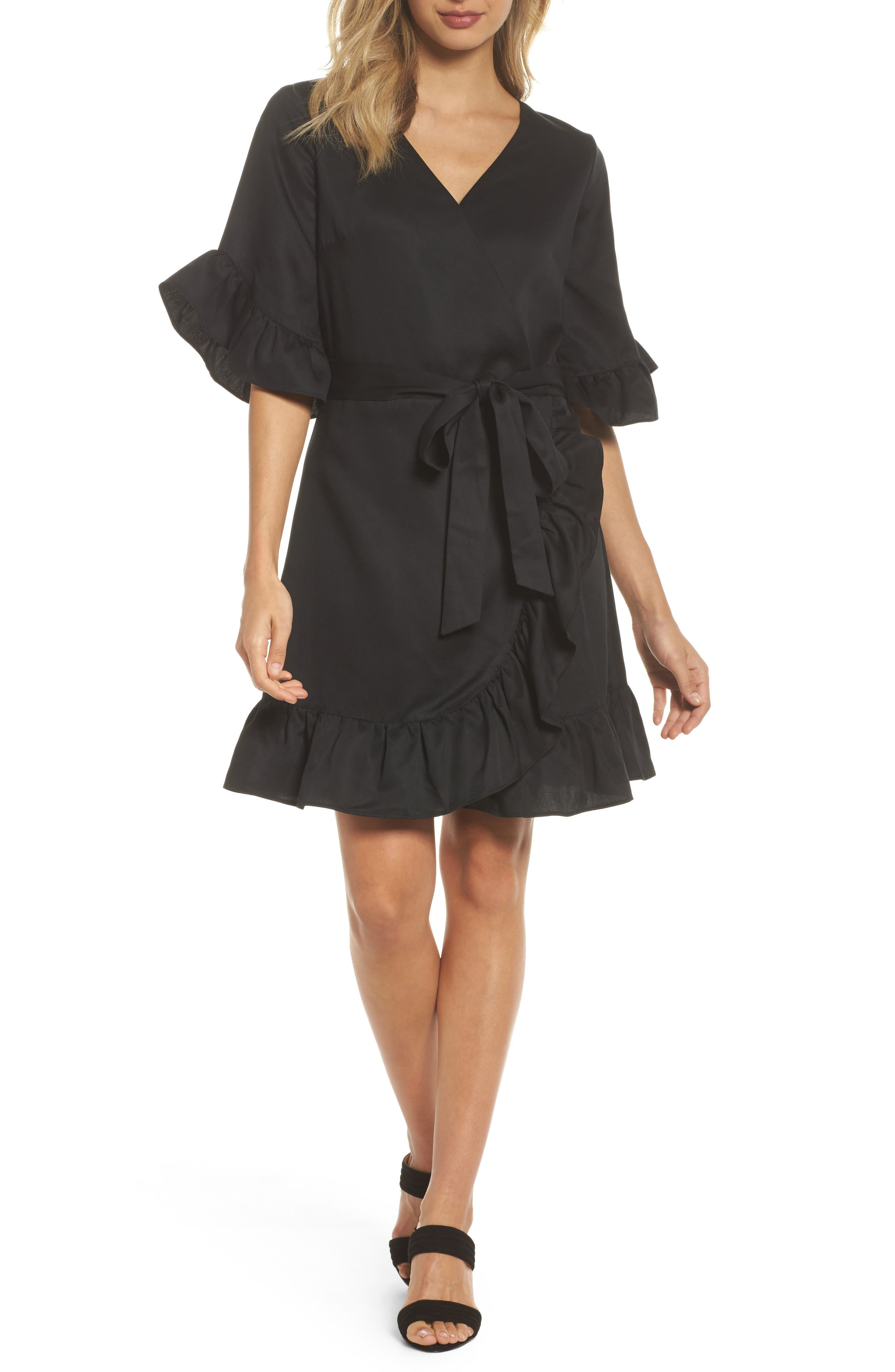 Ruffle Wrap Dress,                         Main,                         color, Black