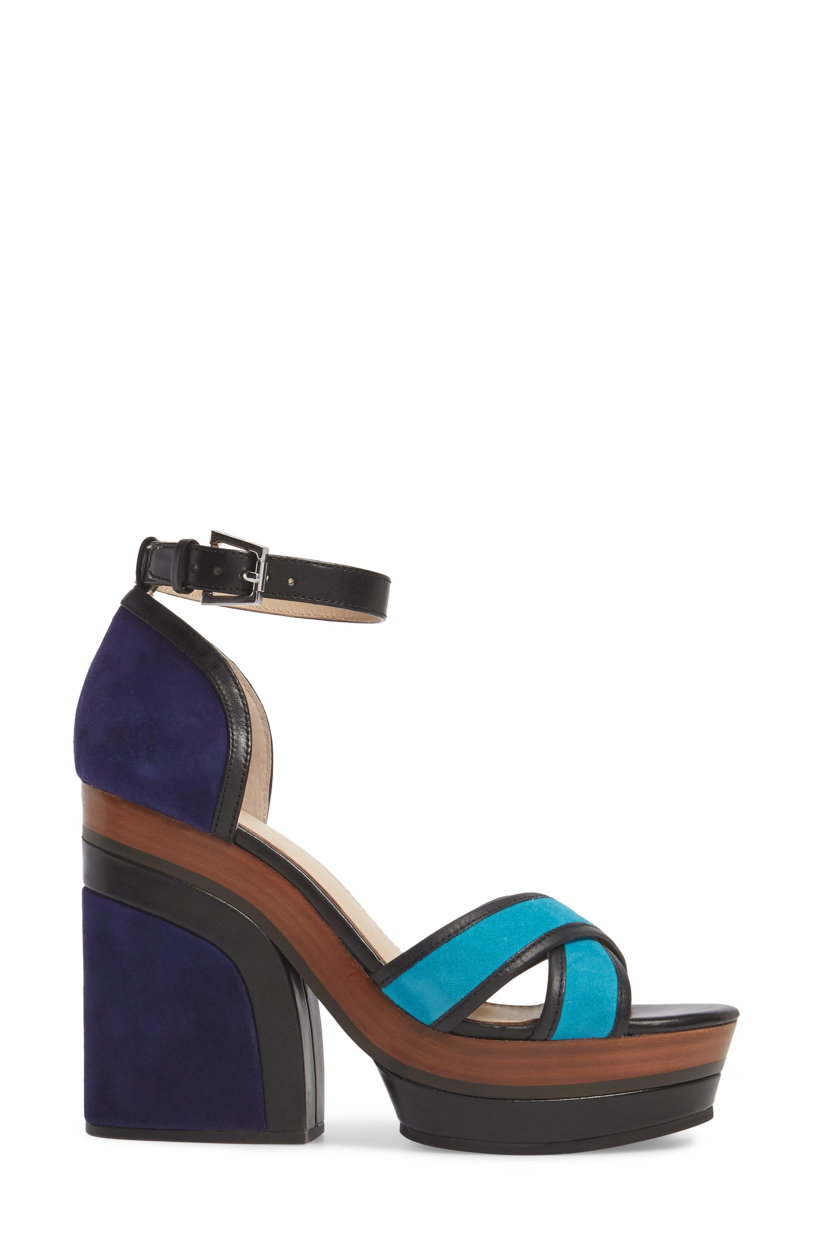 Paloma Ankle Strap Sandal,                             Alternate thumbnail 3, color,                             Ultra Marine Suede