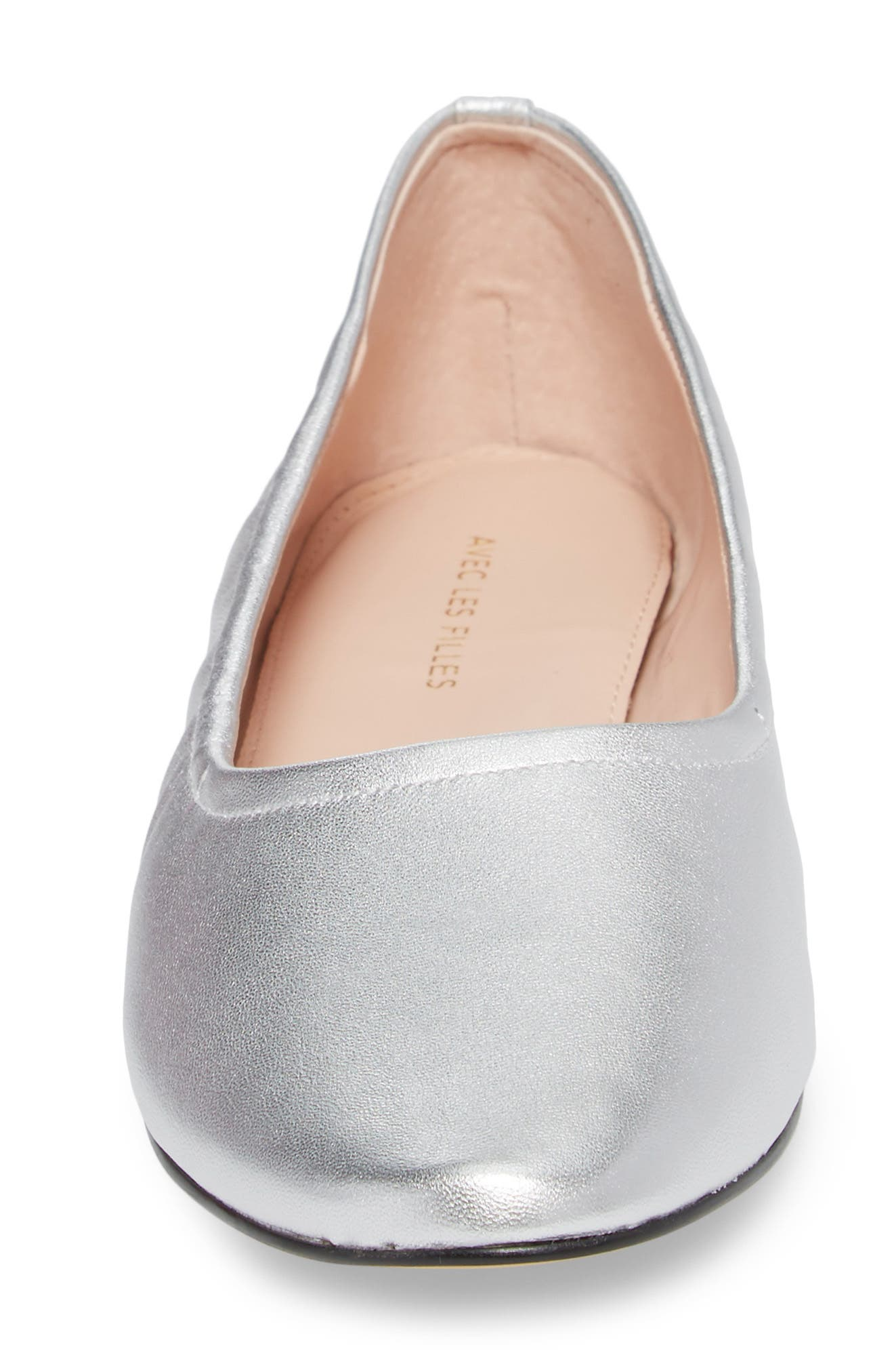 Myrina Ballet Flat,                             Alternate thumbnail 4, color,                             Silver Leather